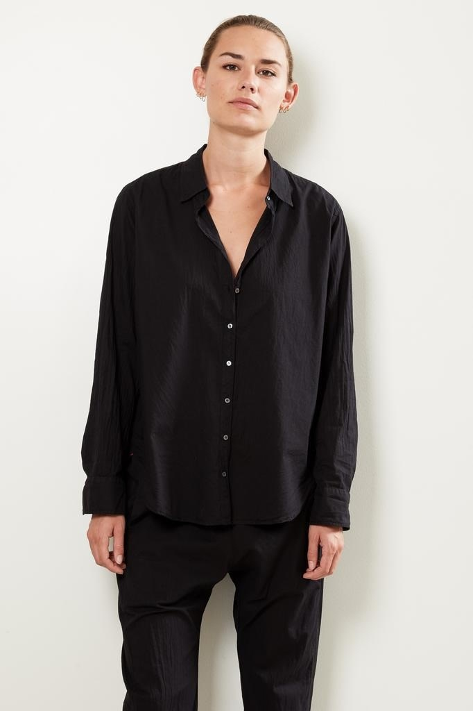 Xirena Beau cotton poplin shirt black