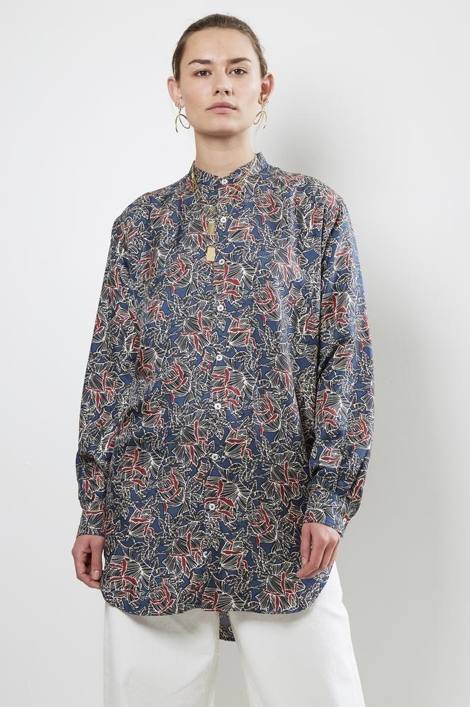 bananatime - 100% silk grandad shirt rose shadows