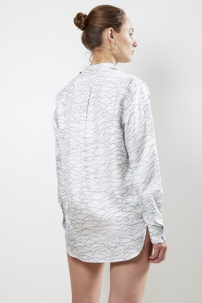 bananatime - printed silk collar shirt dancing grass