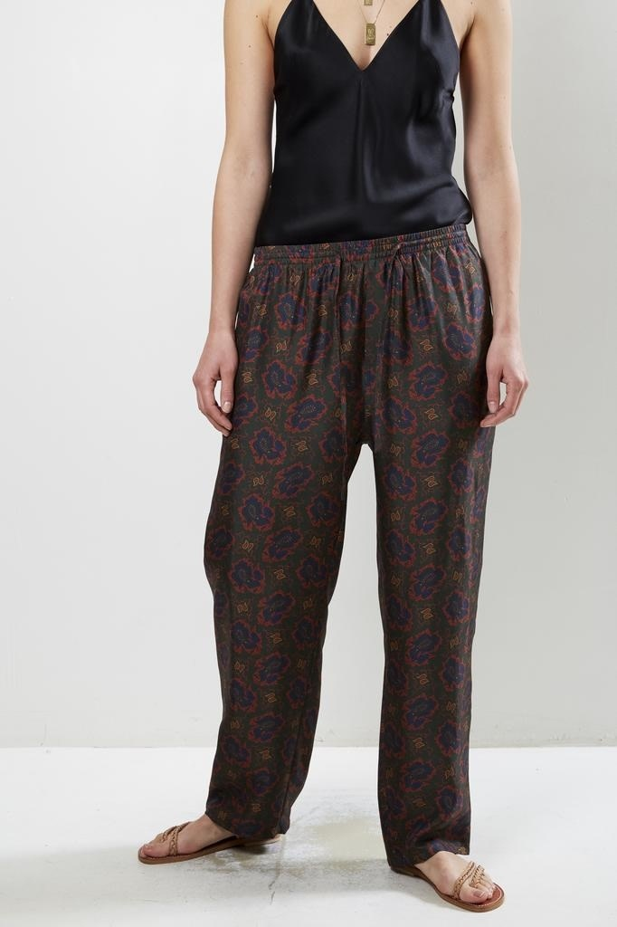 bananatime - silk digital print easy pant paisly fish