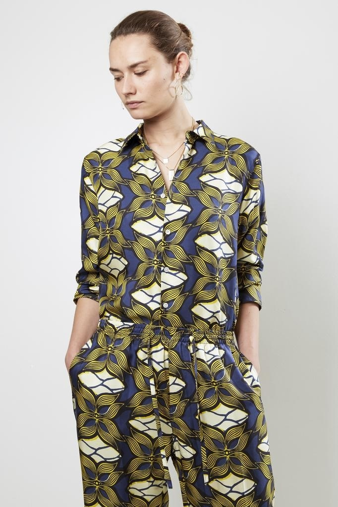 bananatime printed silk collar shirt golden paradise