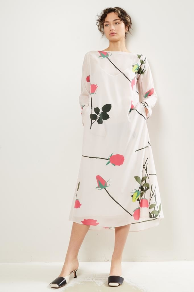 Bernadette Katy stem rose print silk dress.