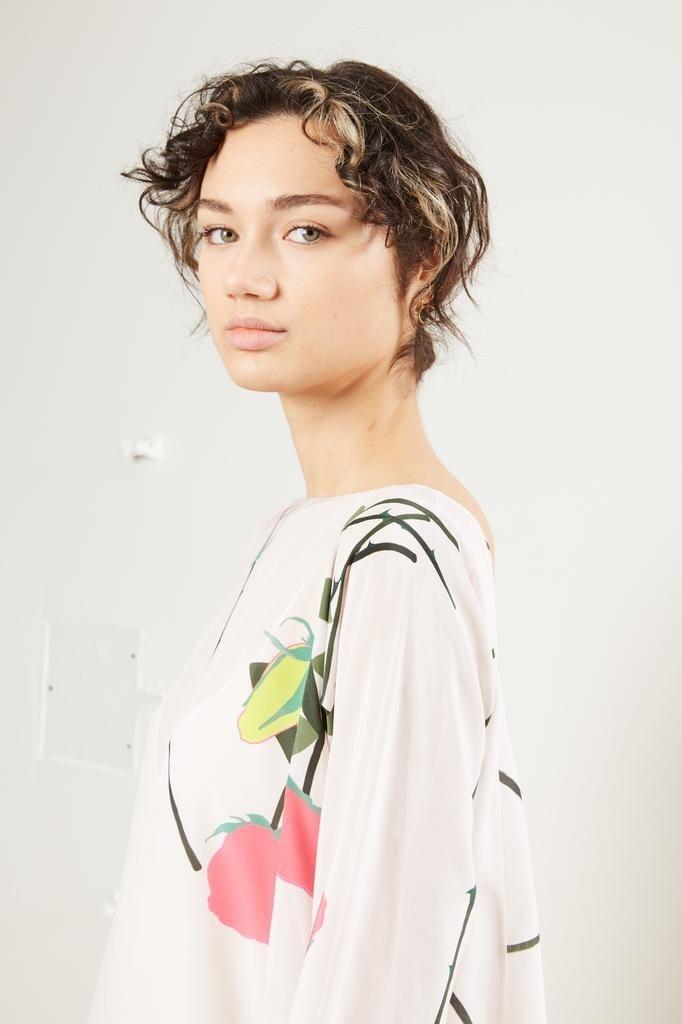 Bernadette - Katy stem rose print silk dress.