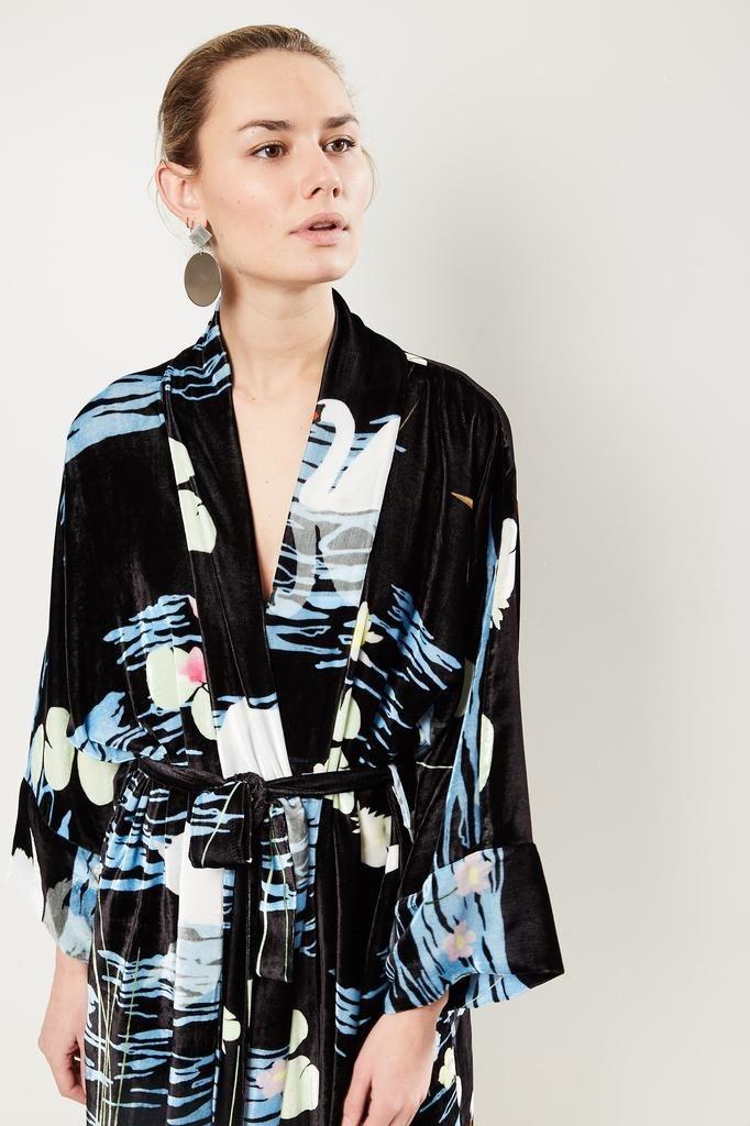 Bernadette - Peignoir swan print velvet wrap dress.