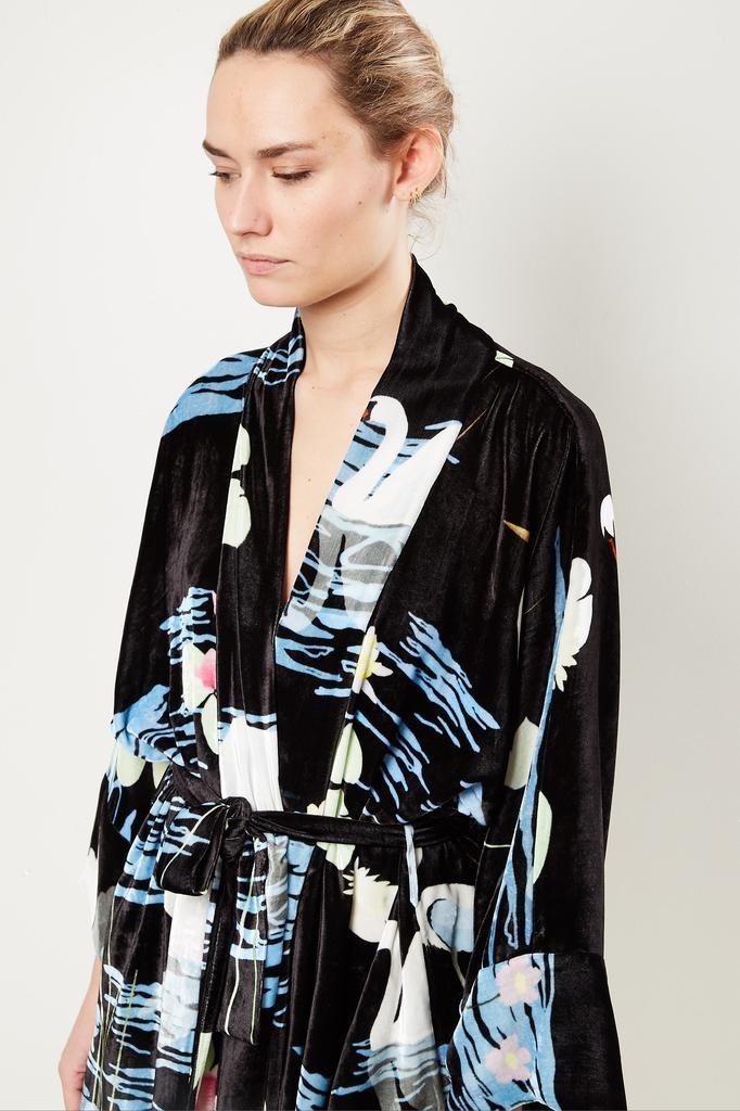 Bernadette Peignoir swan print velvet wrap dress.