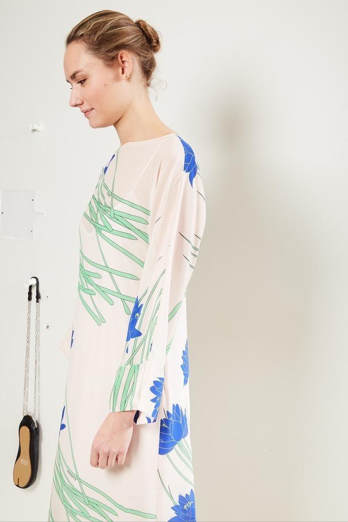 Bernadette Lily floral print silk dress Ivory.