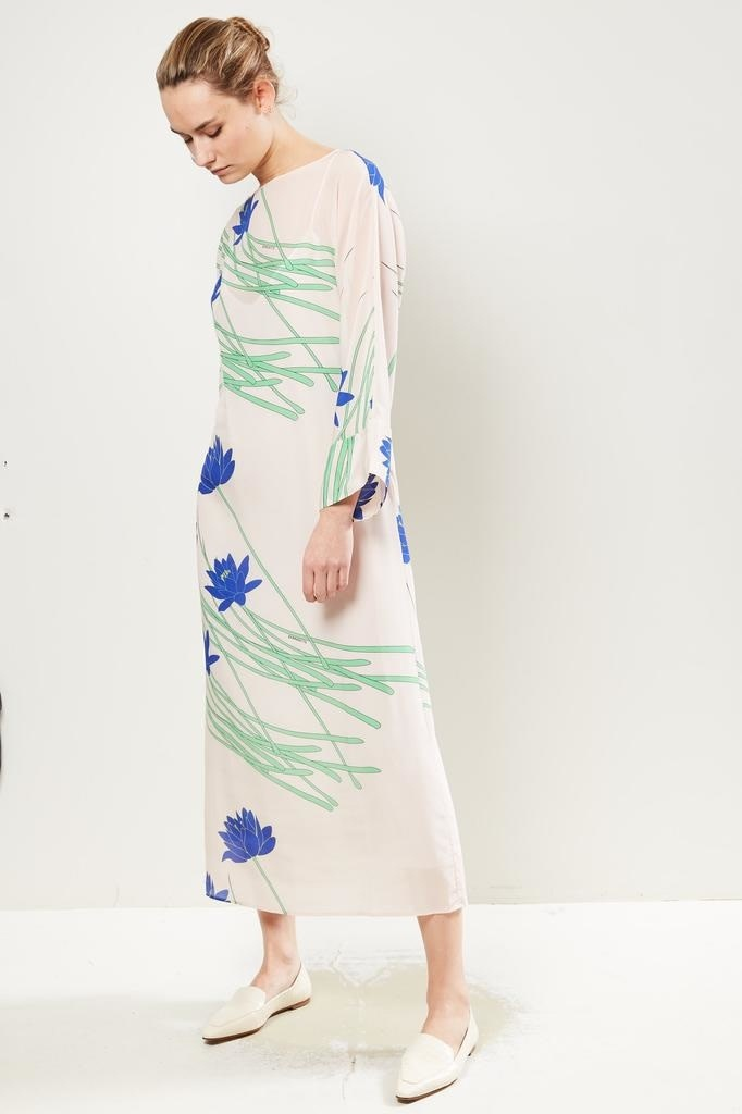 Bernadette - Lily floral print silk dress Ivory.