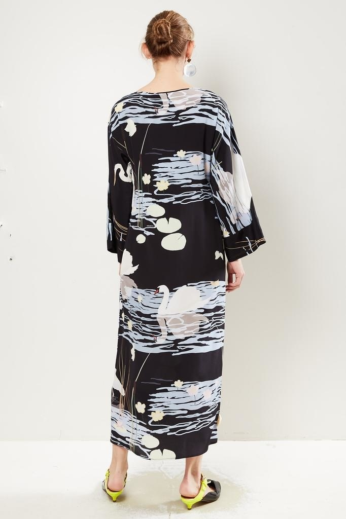 Bernadette Lily swan print maxi dress.