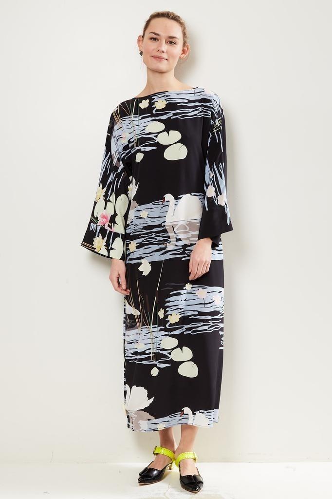 Bernadette - Lily swan print maxi dress.