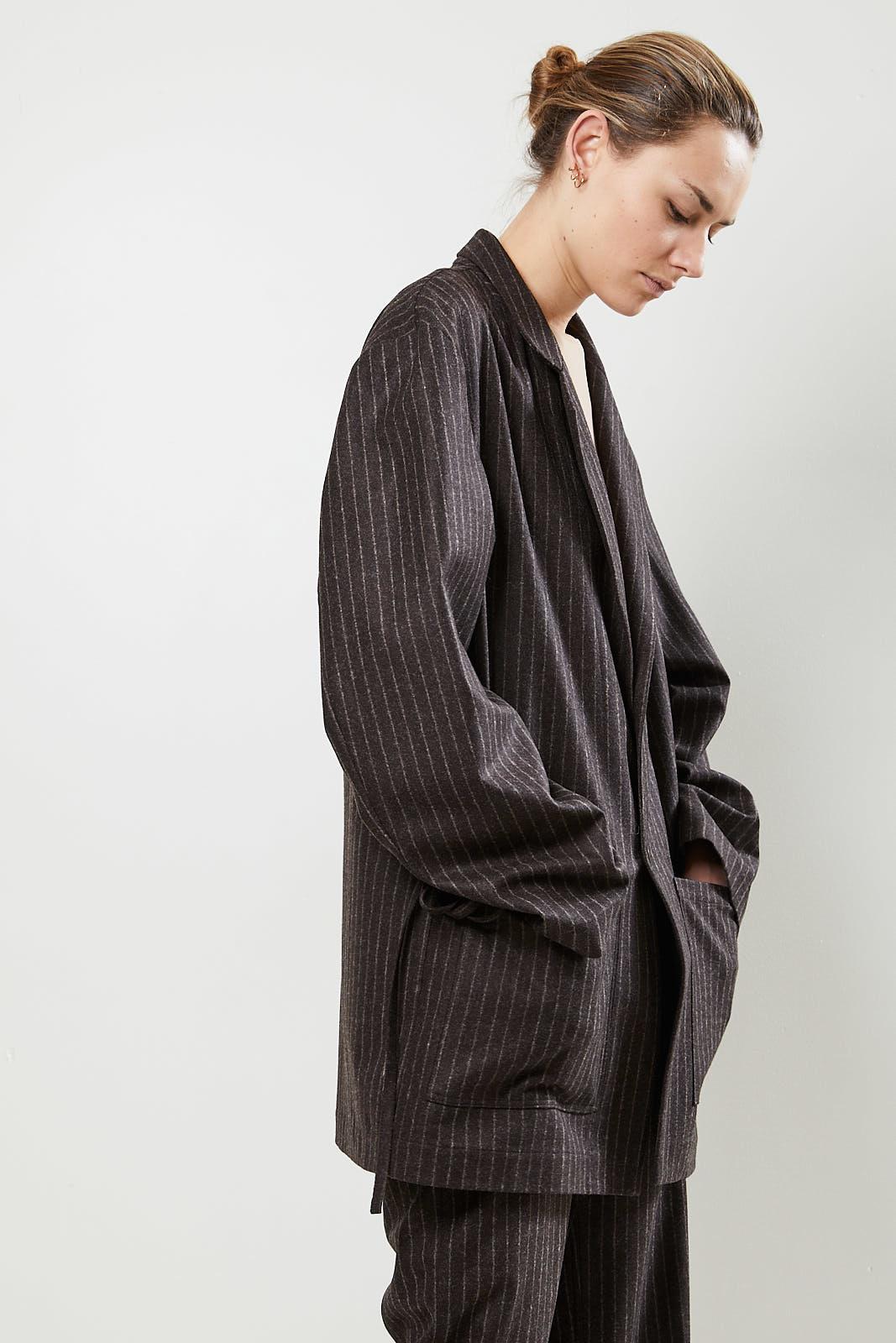 Monique van Heist - Donny brown pinstripe wool jacket
