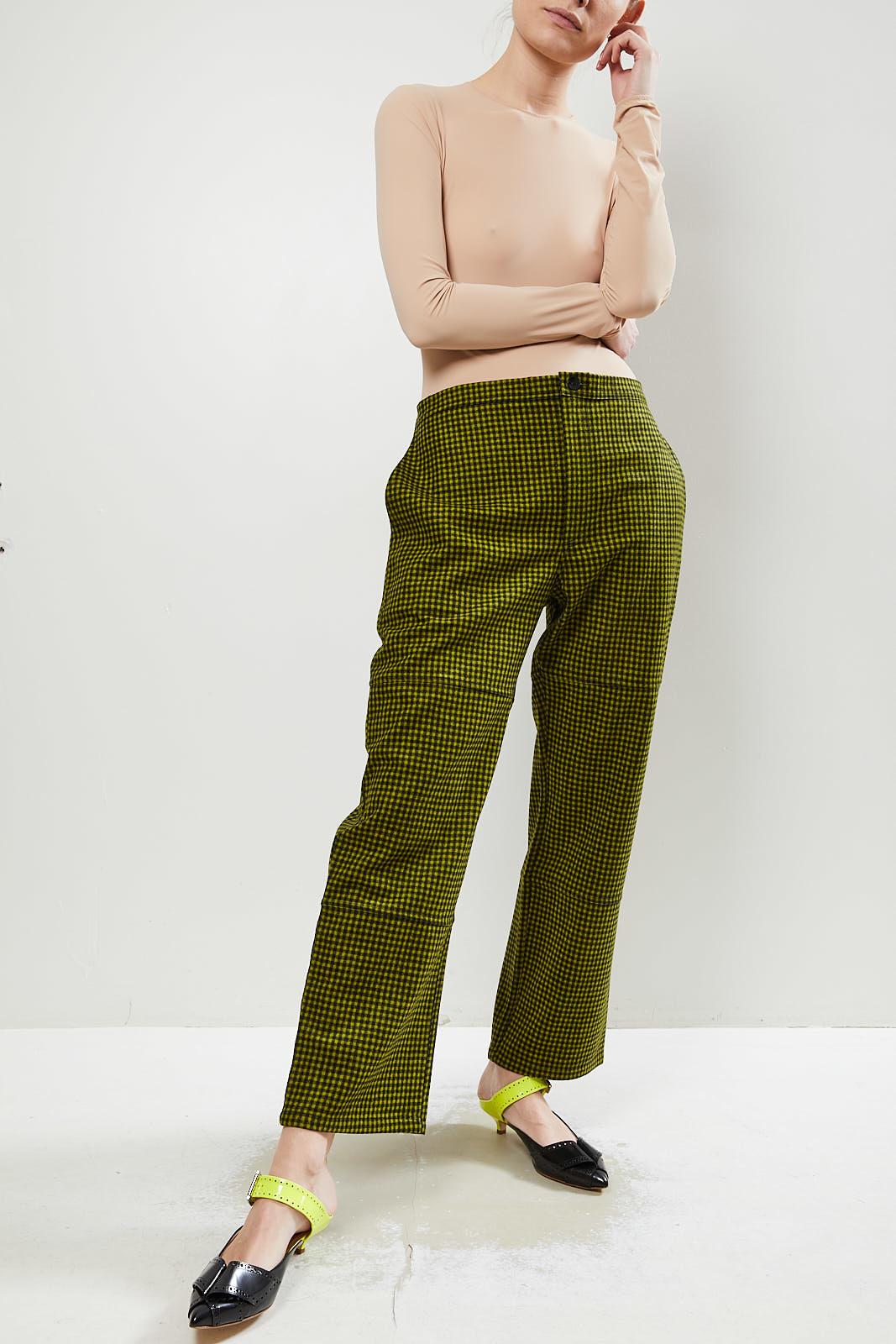 Monique van Heist PJ worker pistache check wool trousers