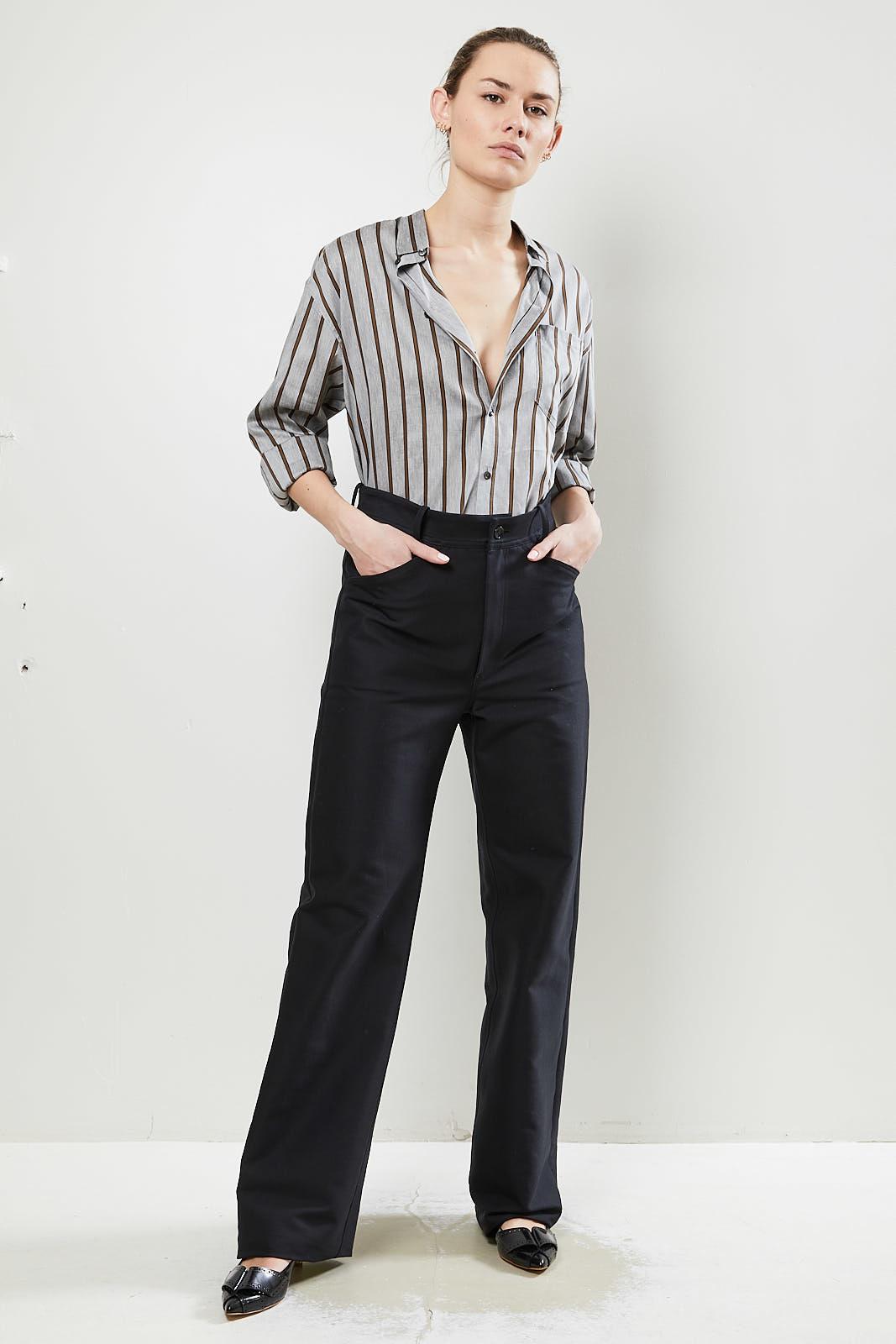 Monique van Heist Sailor black cotton heavy trousers