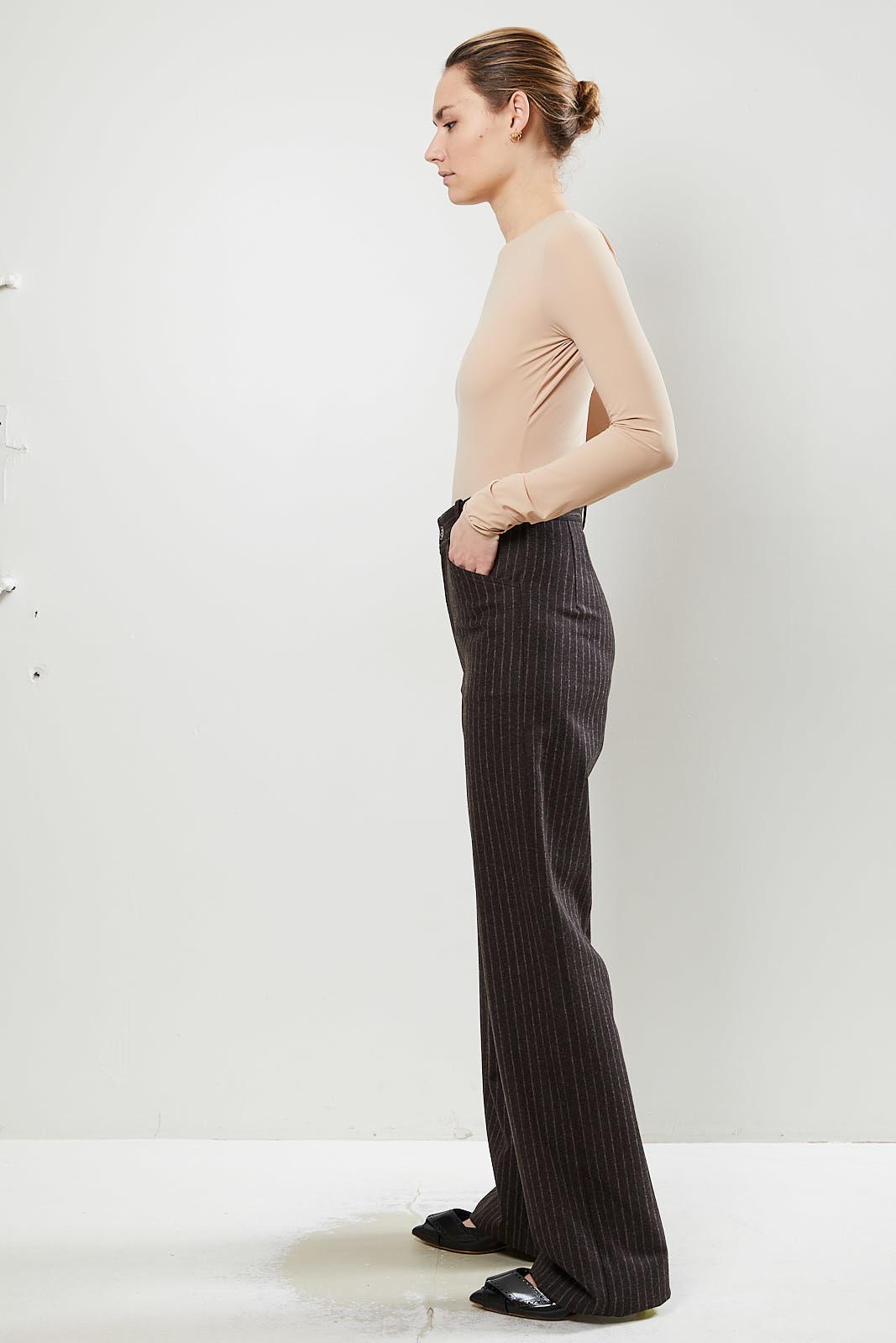 Monique van Heist - Sailor brown pinstripe wool trousers