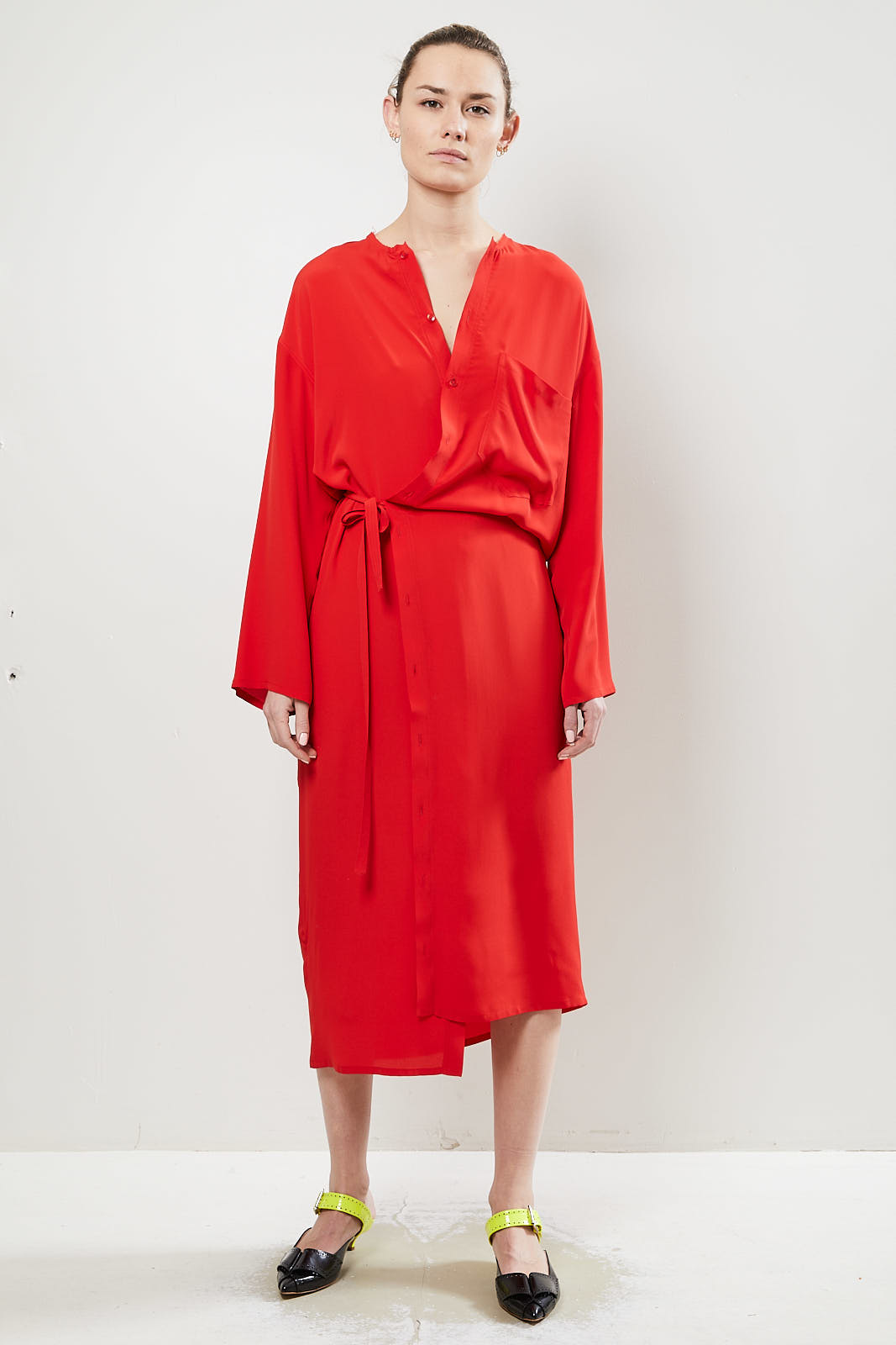 Monique van Heist wrapper dress red silky