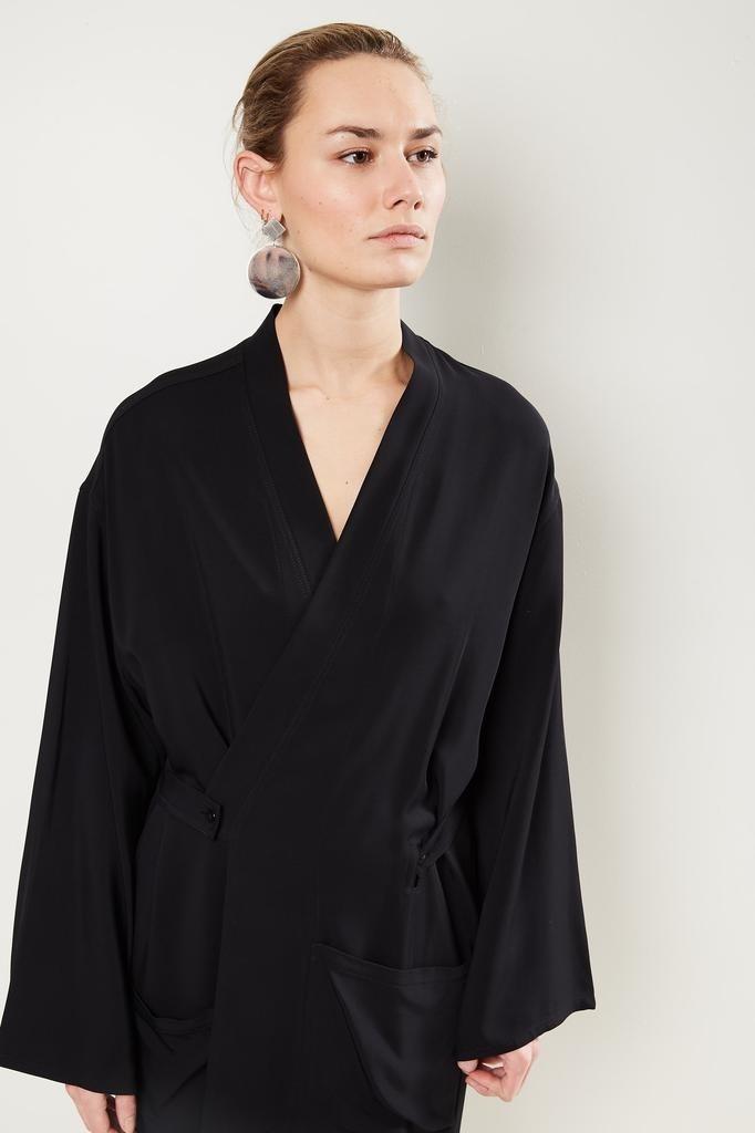 Monique van Heist - Kimono black stretch coat dress