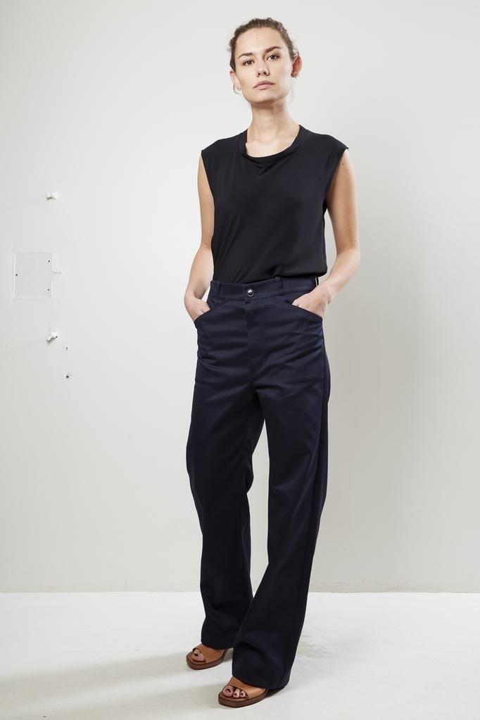 Monique van Heist sailor navy signal trousers