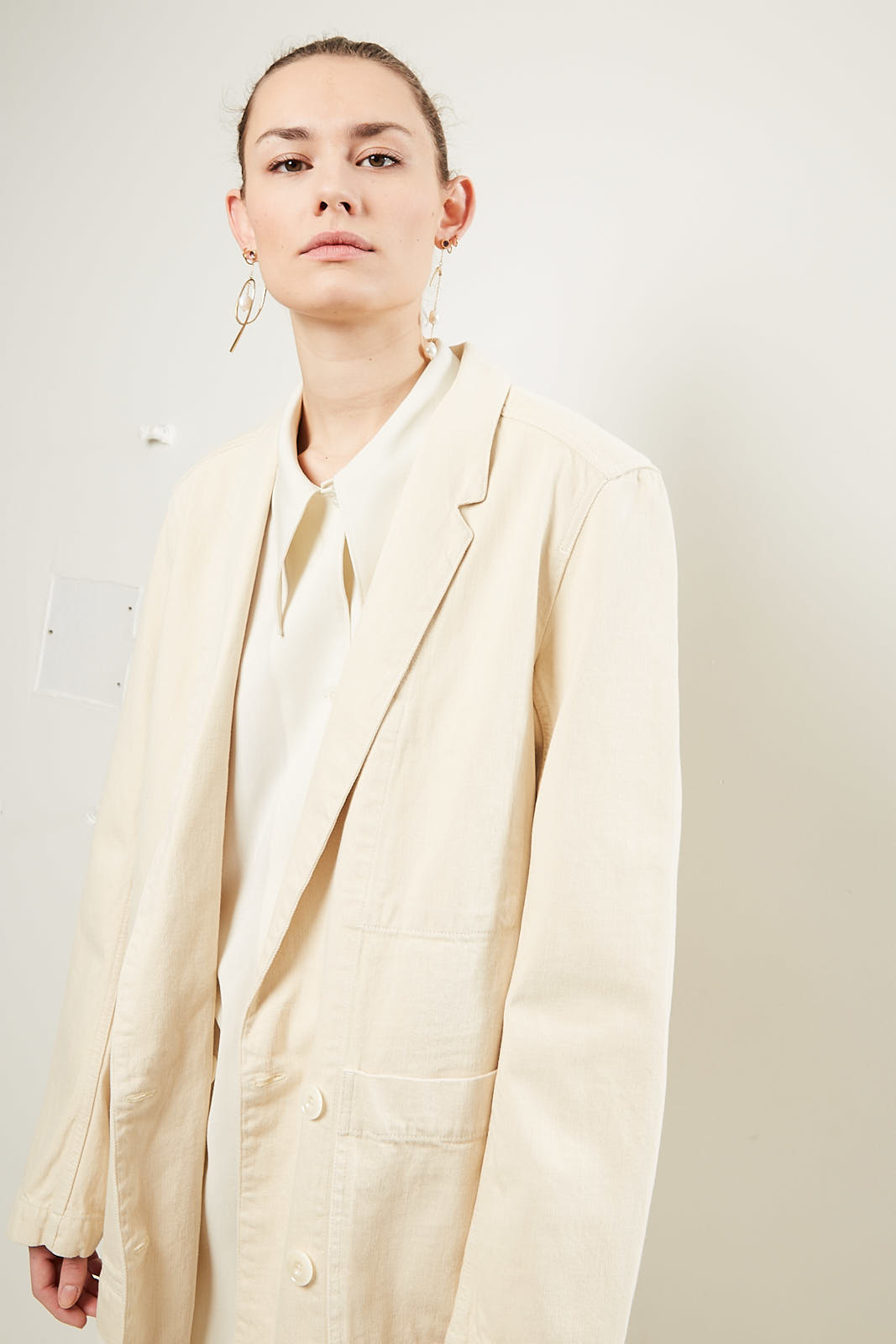 Lemaire - Double breasted jacket 507 cream