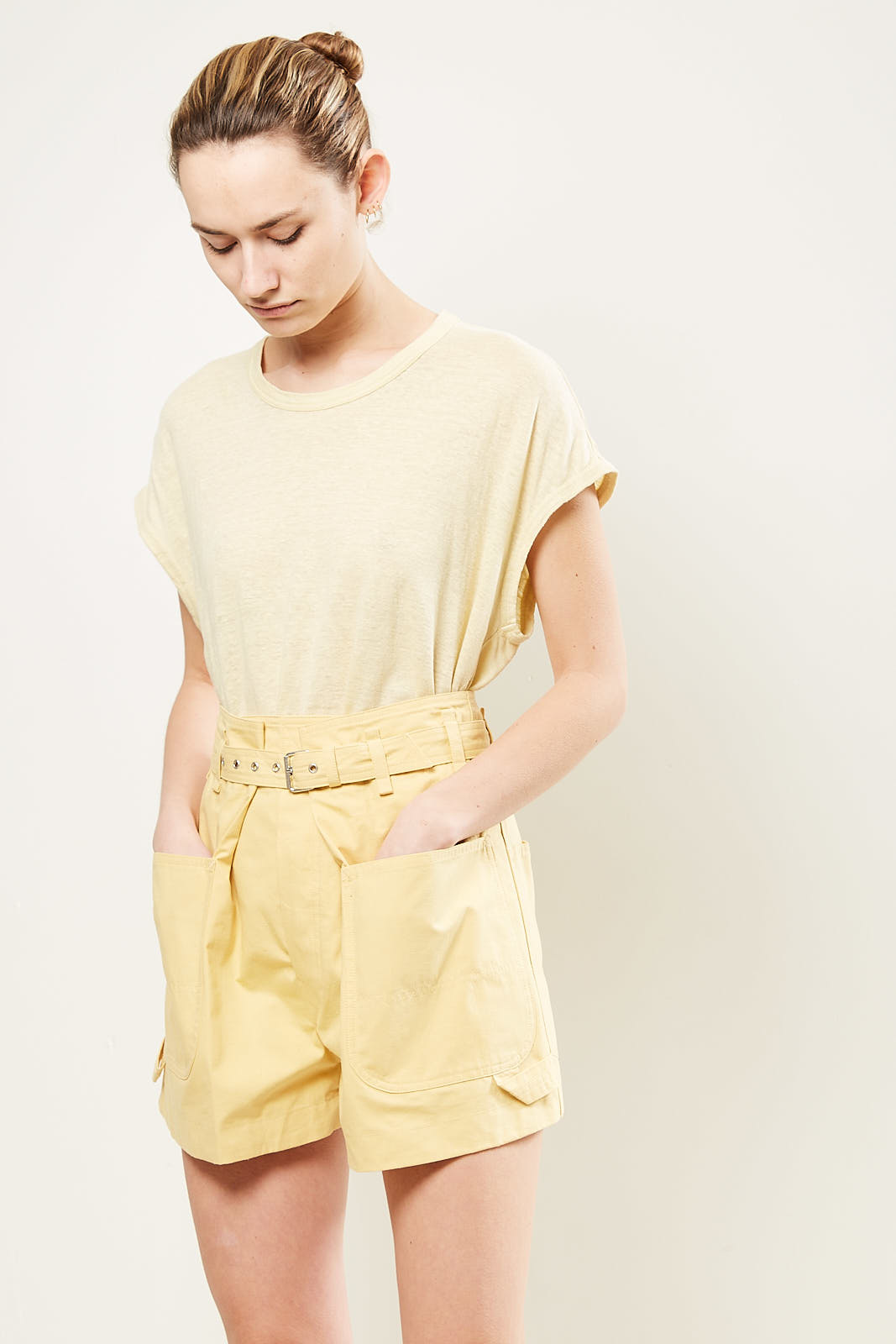 Isabel Marant - Ike belted cotton shorts