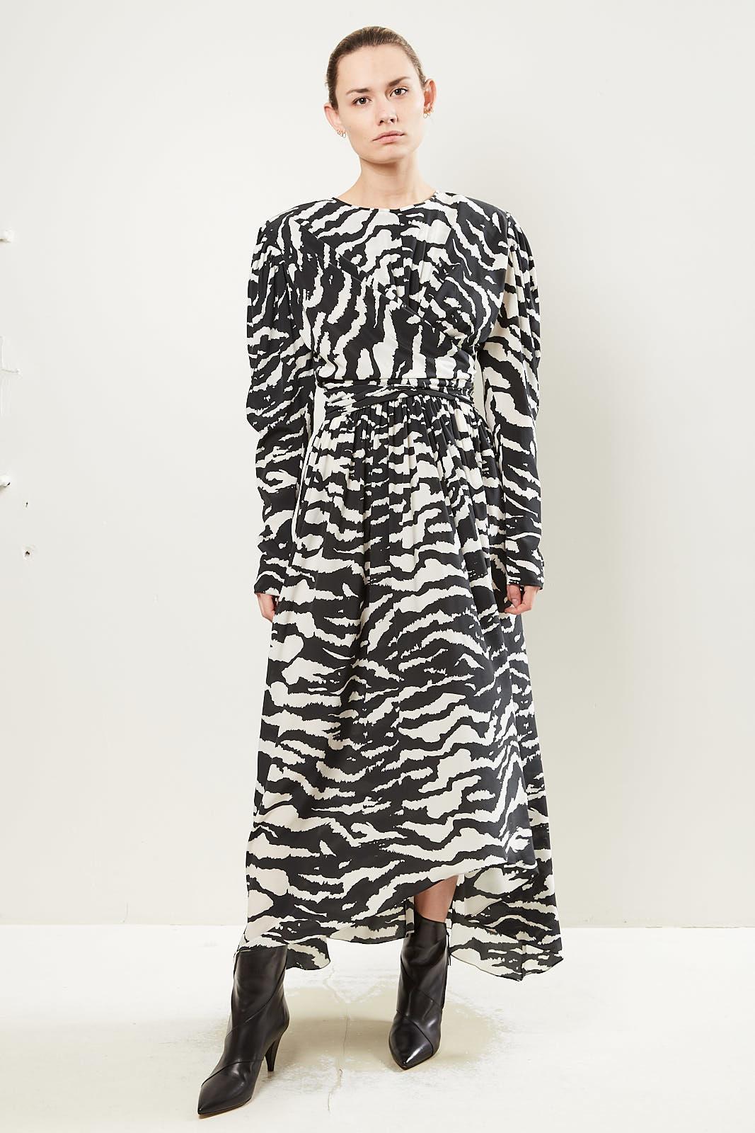 Isabel Marant Filao zebra print twisted waist dress.