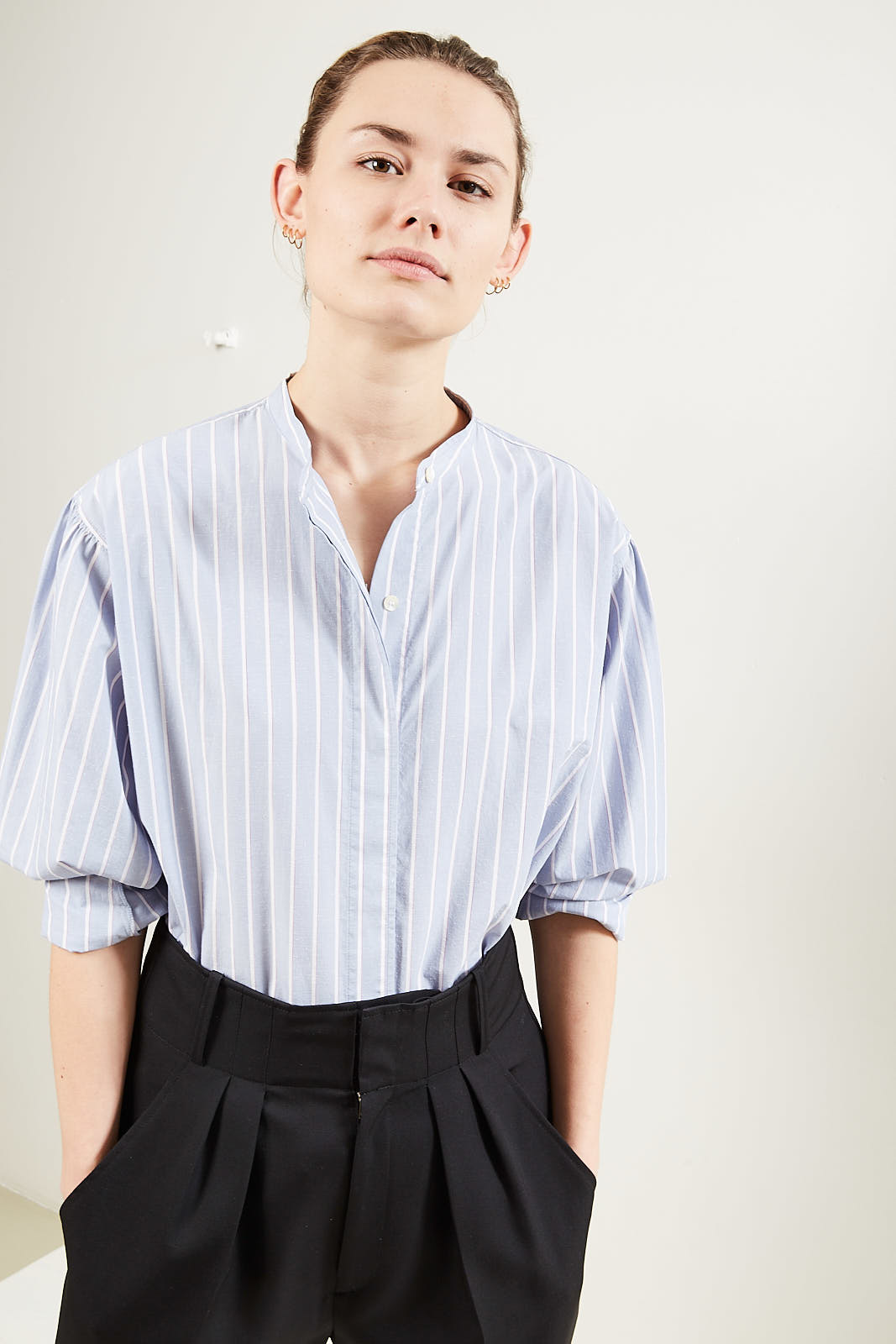 Isabel Marant Watchell striped band collar shirt
