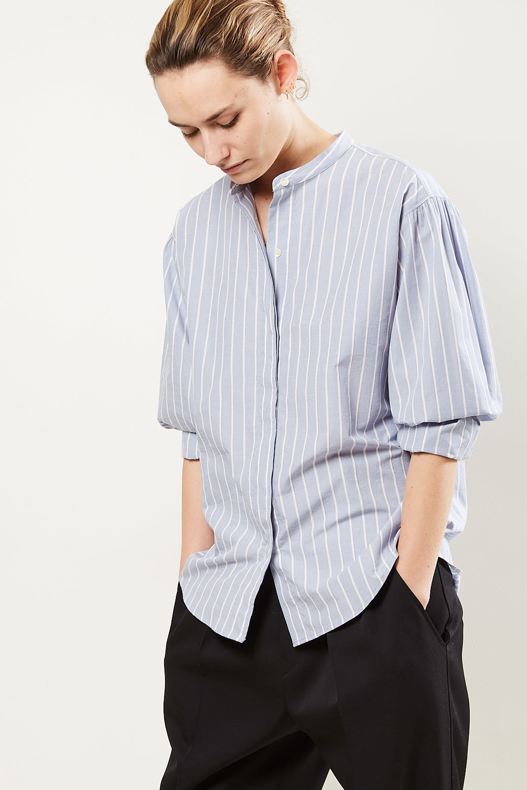 Isabel Marant - Satchell striped band collar shirt