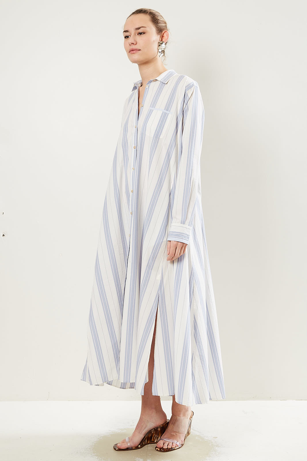 Forte Forte Striped belted waist shirt dress.