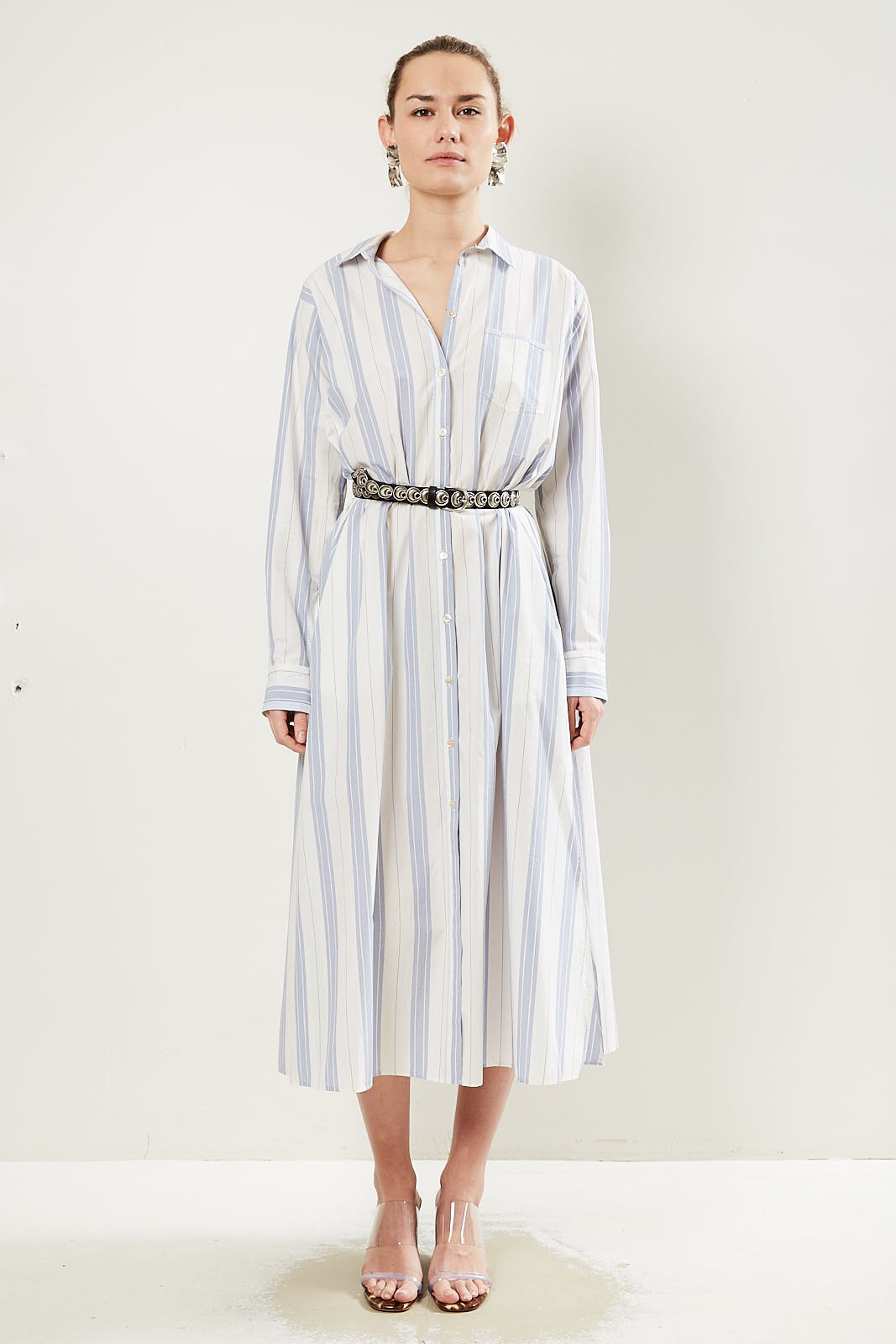 Forte Forte - Striped belted waist shirt dress.