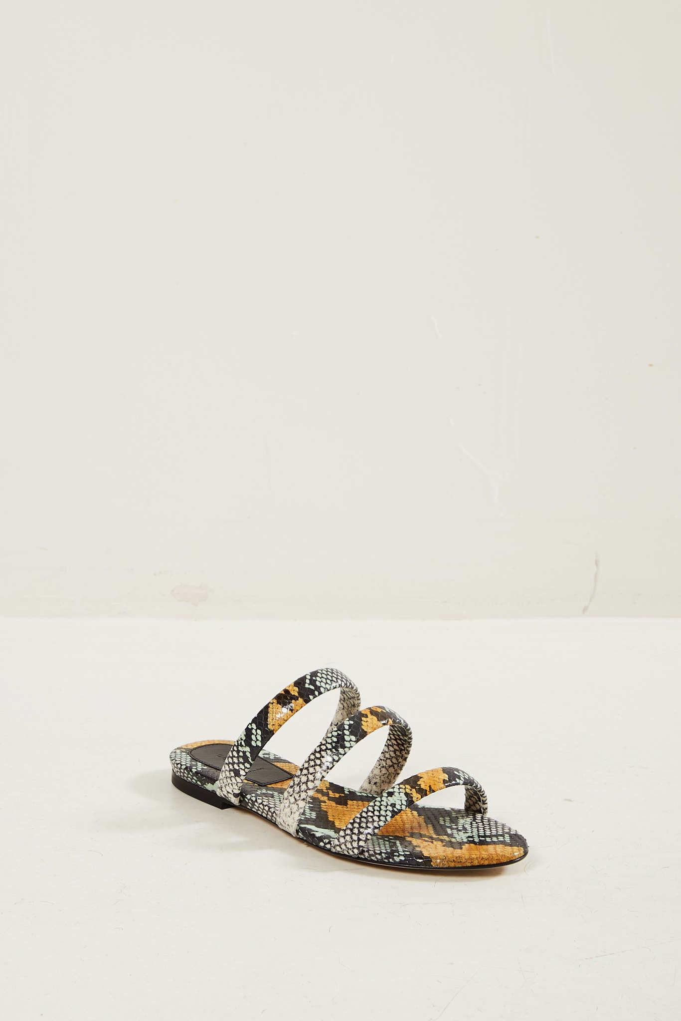 Aeyde Chrissy snake print sandals.