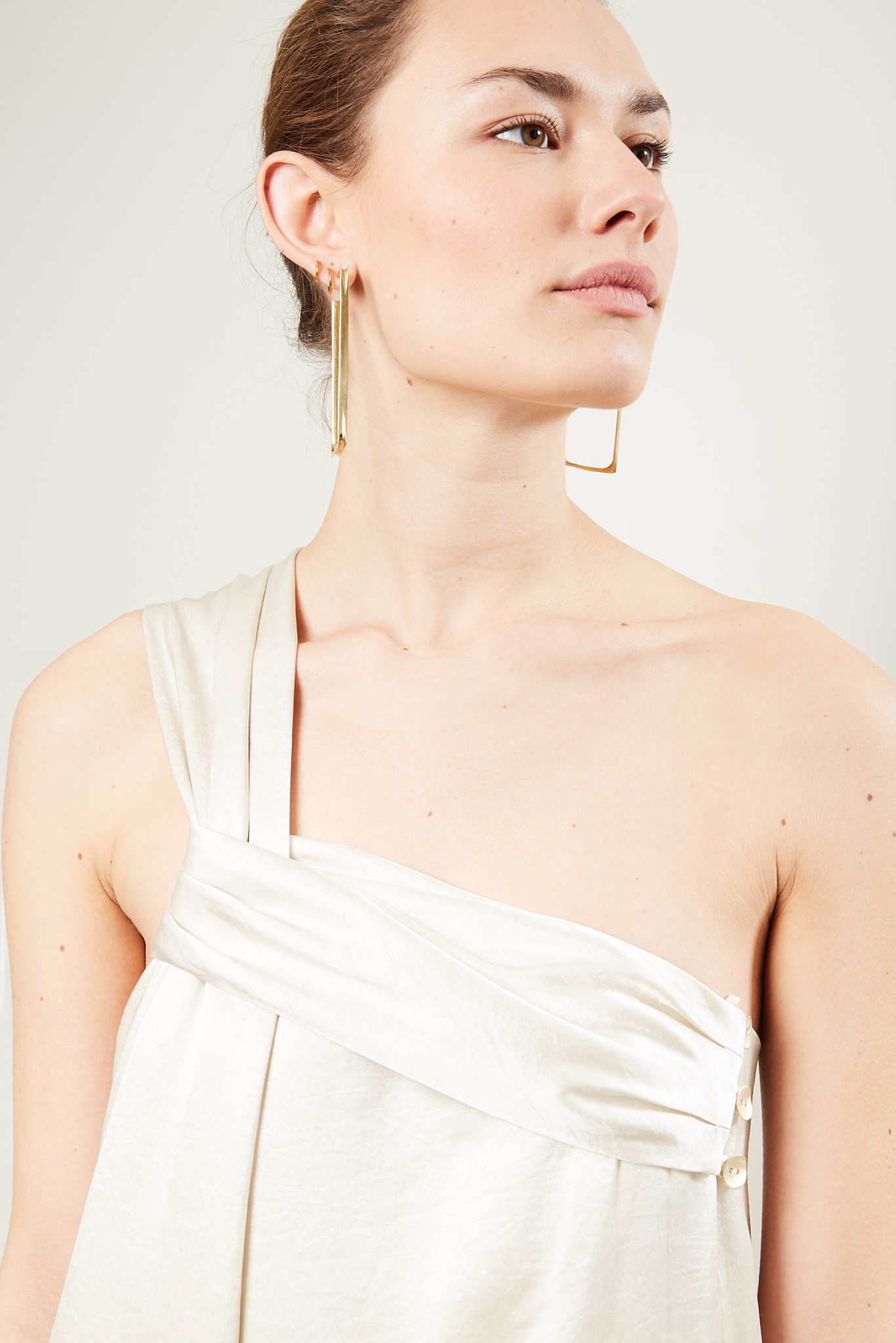 Nanushka - Zena washed satin dress ecru