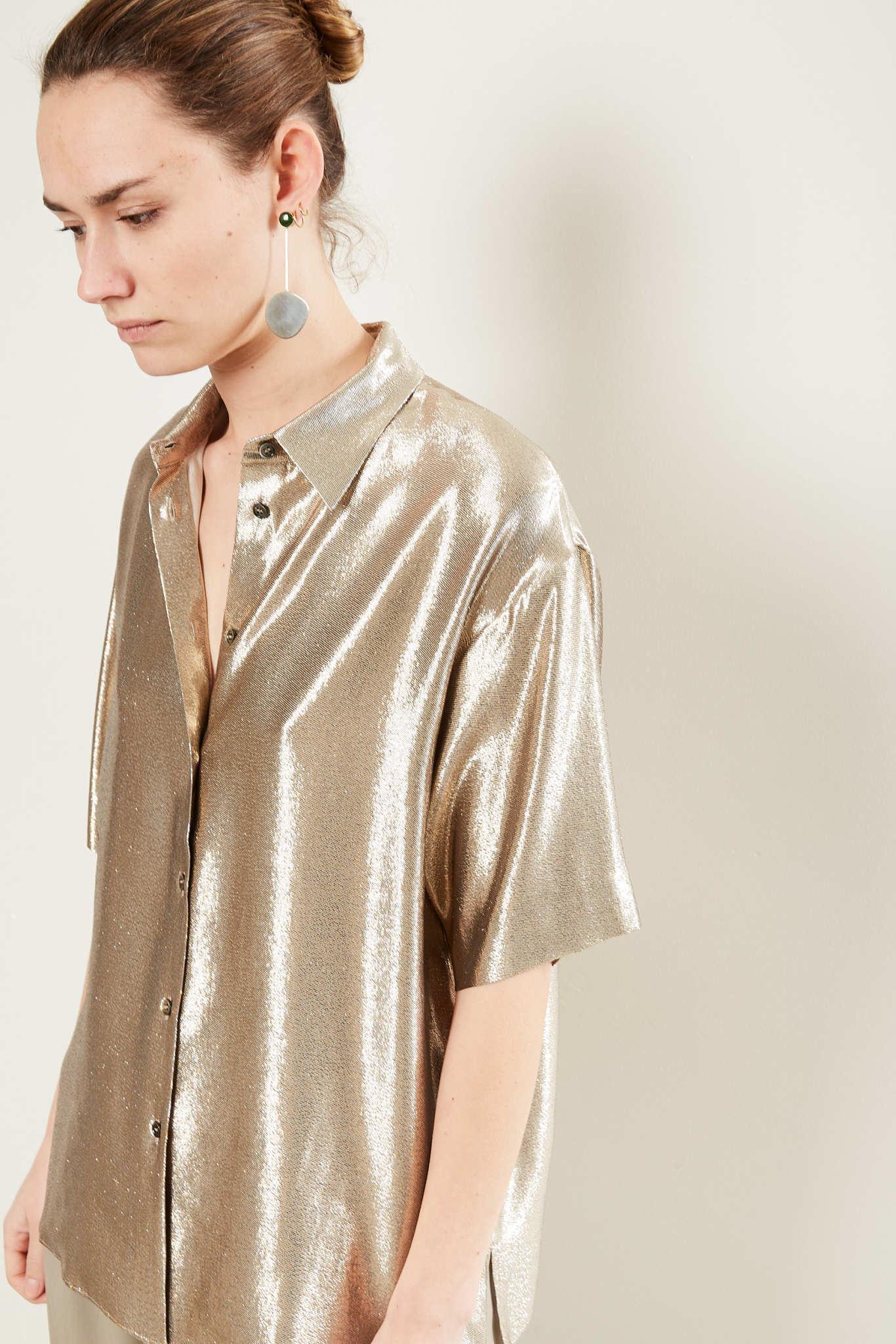 inDRESS - Lurex short sleeved blouse