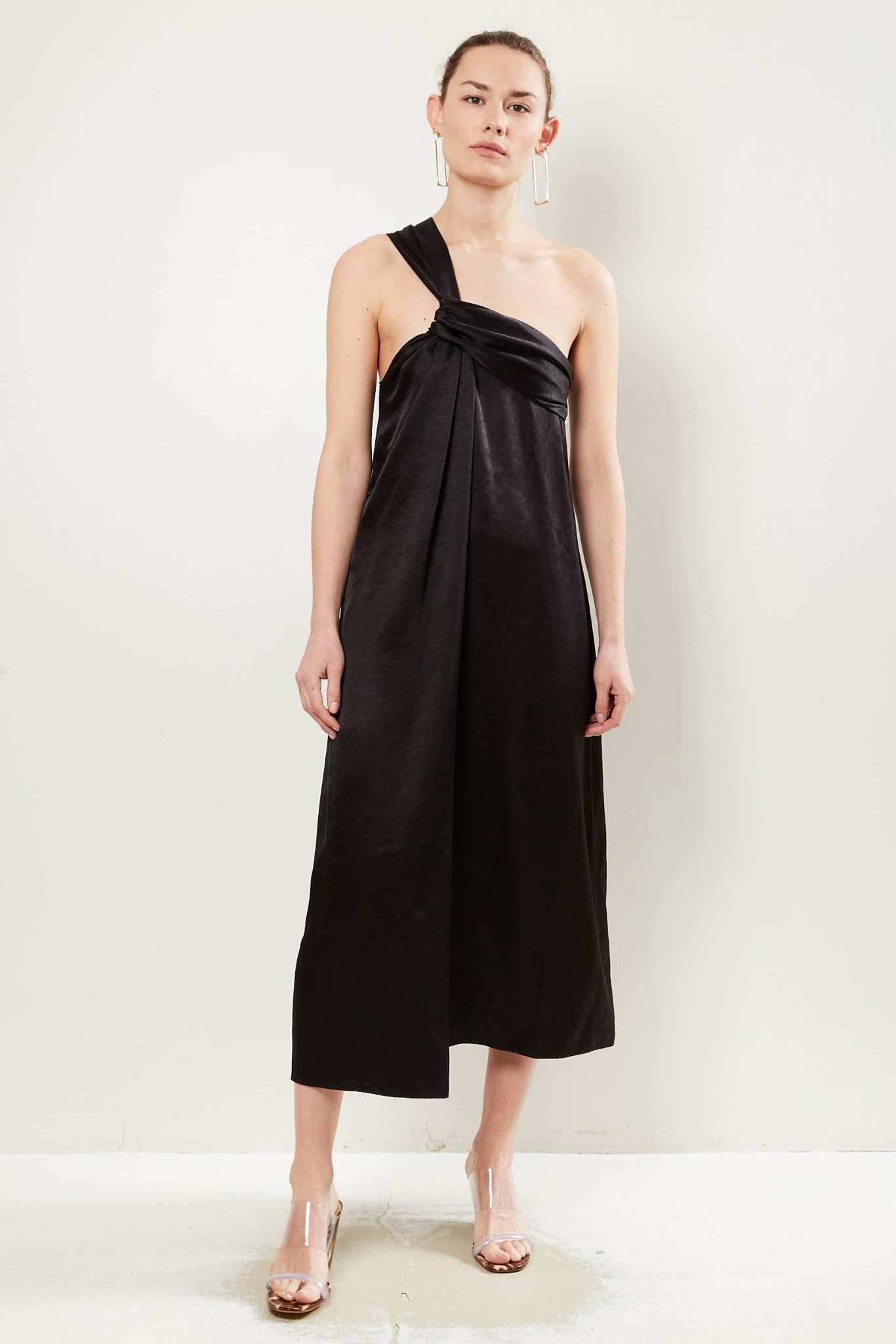 Nanushka - Zena washed satin dress black