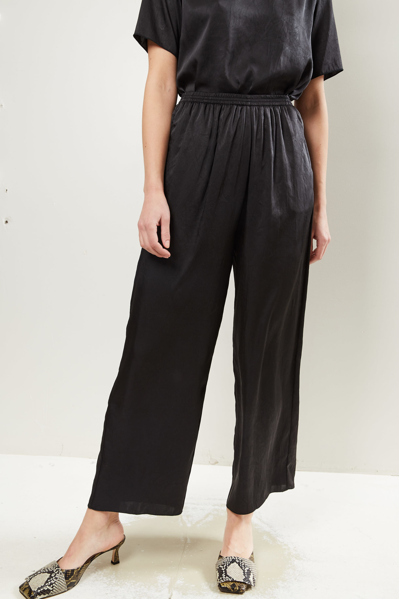 Forte Forte - Crash satin elasticated pants nero 8000