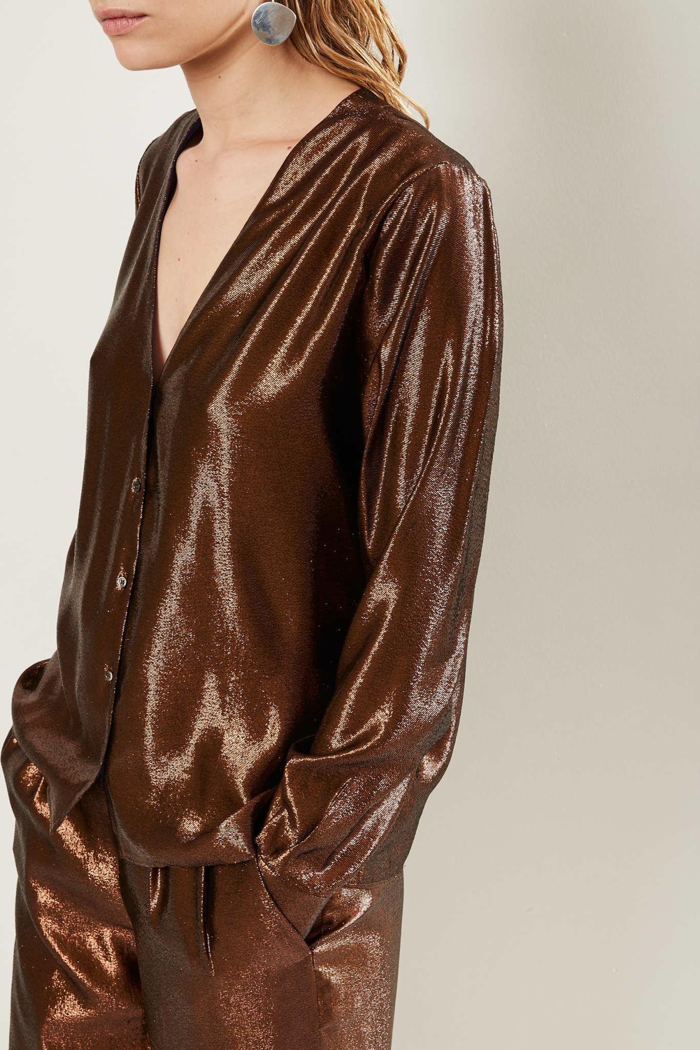 inDRESS Silk lurex v-neck shirt
