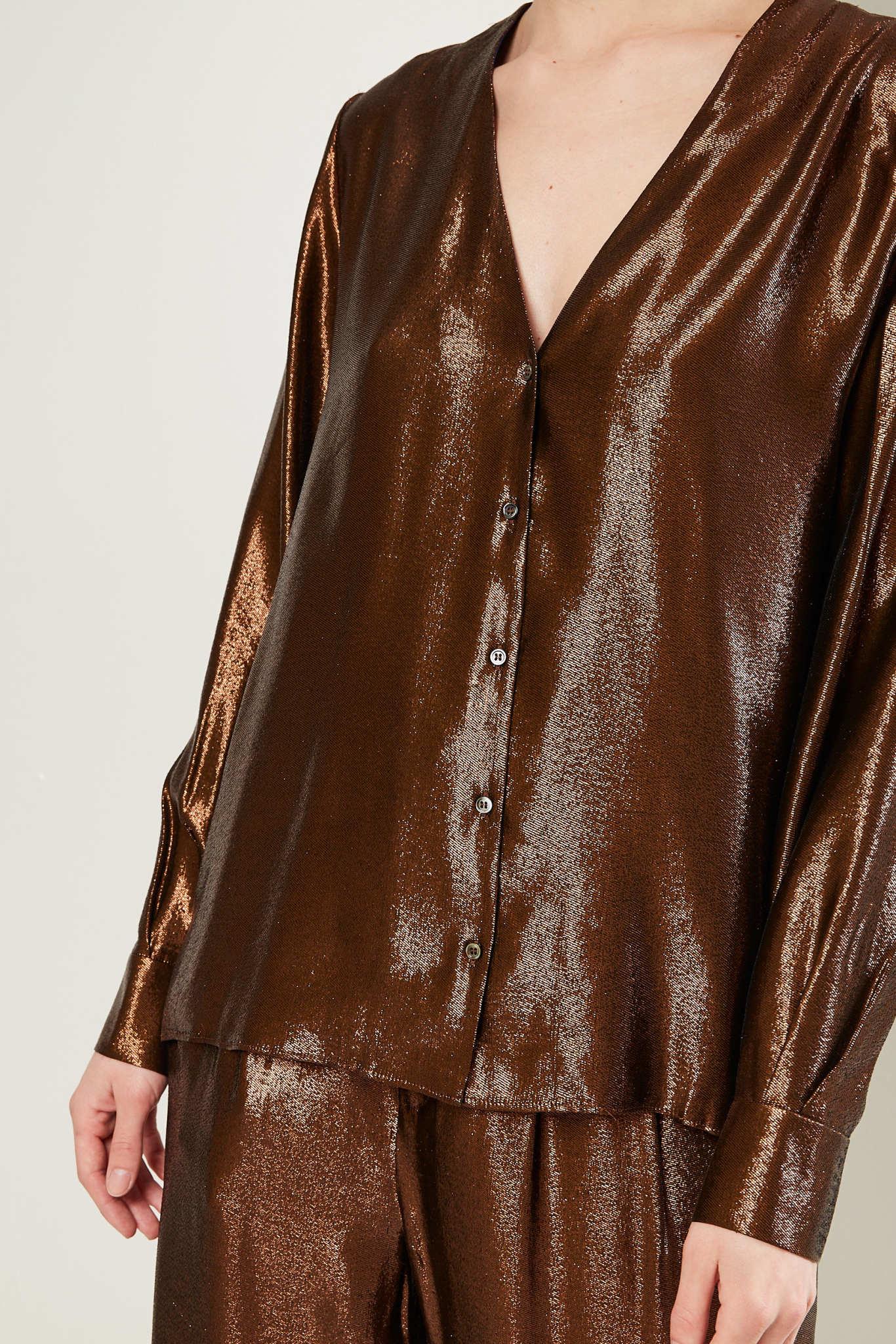 inDRESS - Silk lurex v-neck shirt
