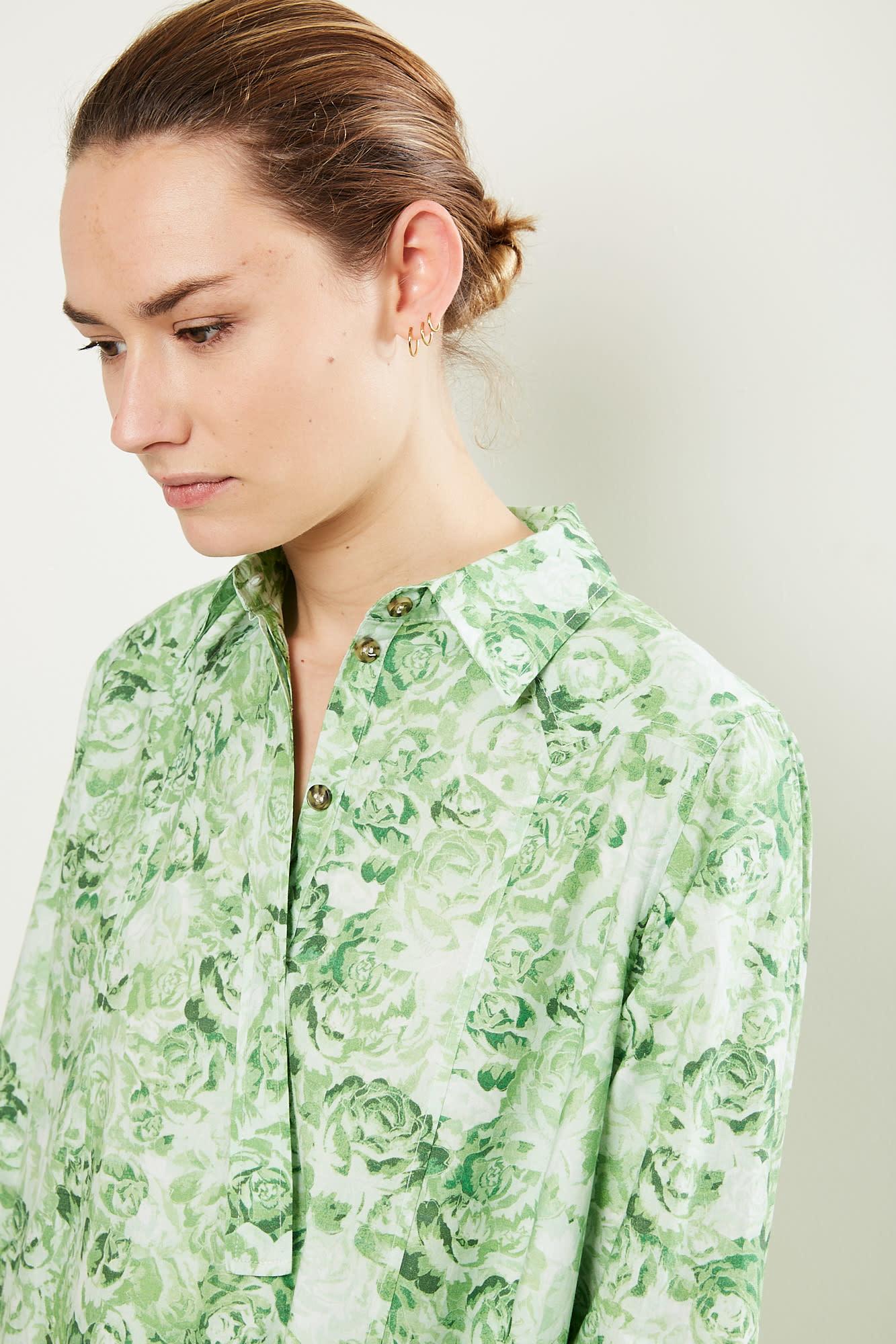 Ganni - Printed Cotton Poplin dress island green