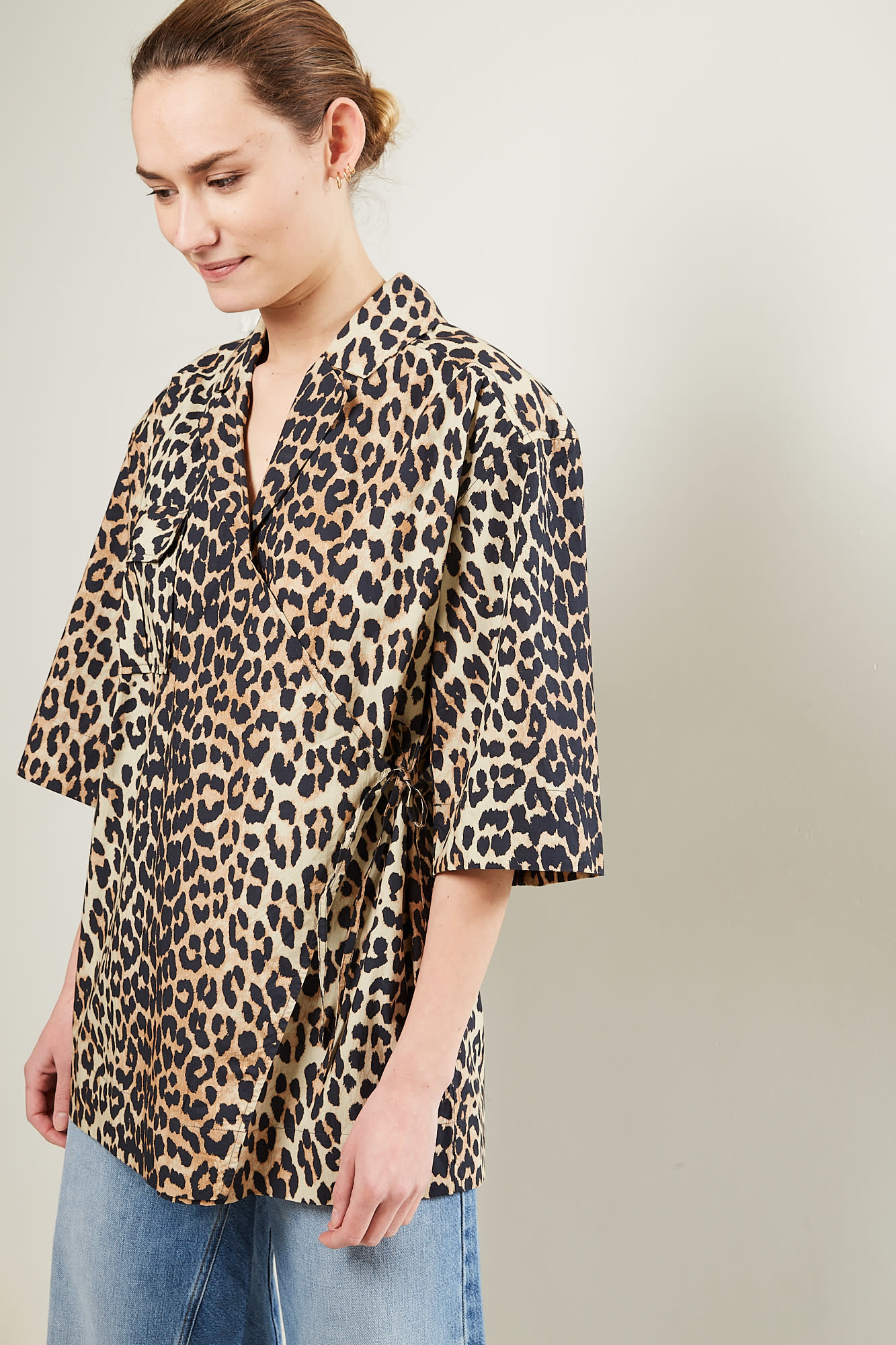 Ganni Printed cotton poplin leopard shirt jacket