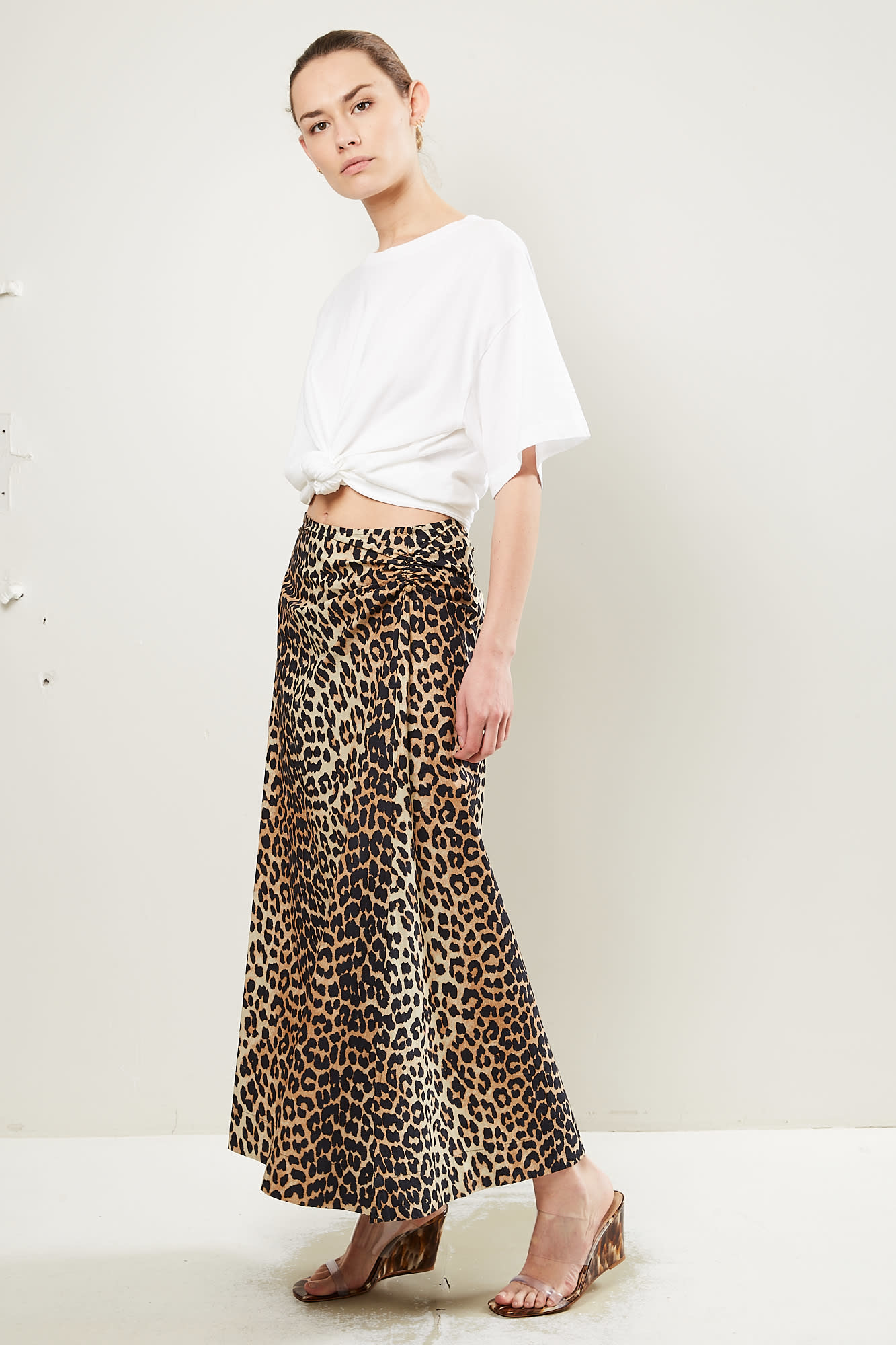 Ganni - Printed cotton poplin leopard skirt