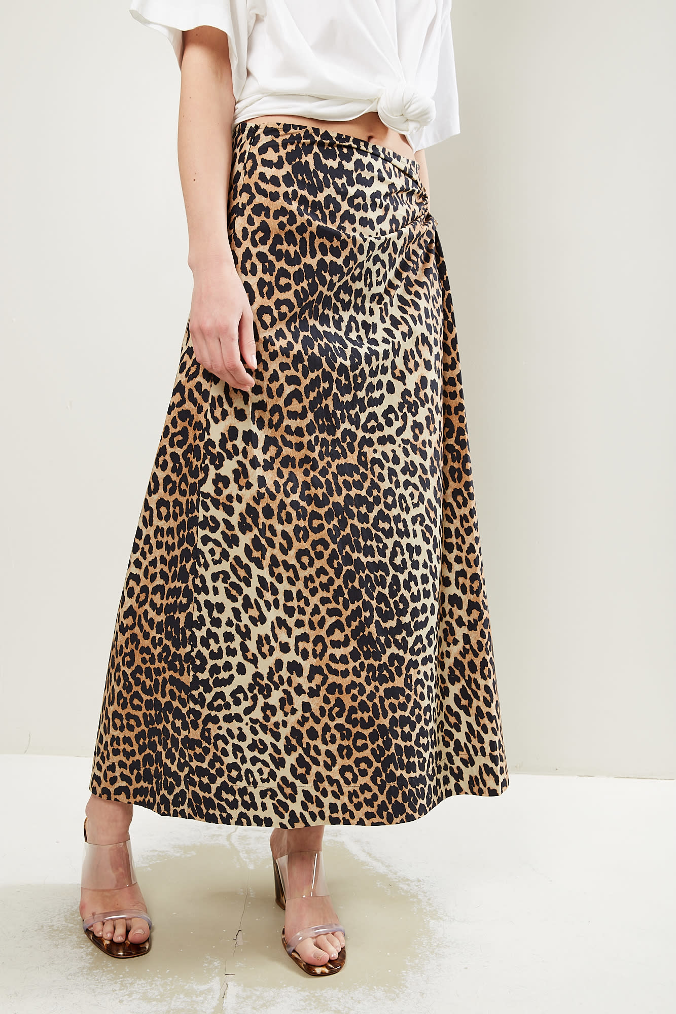 Ganni Printed cotton poplin leopard skirt