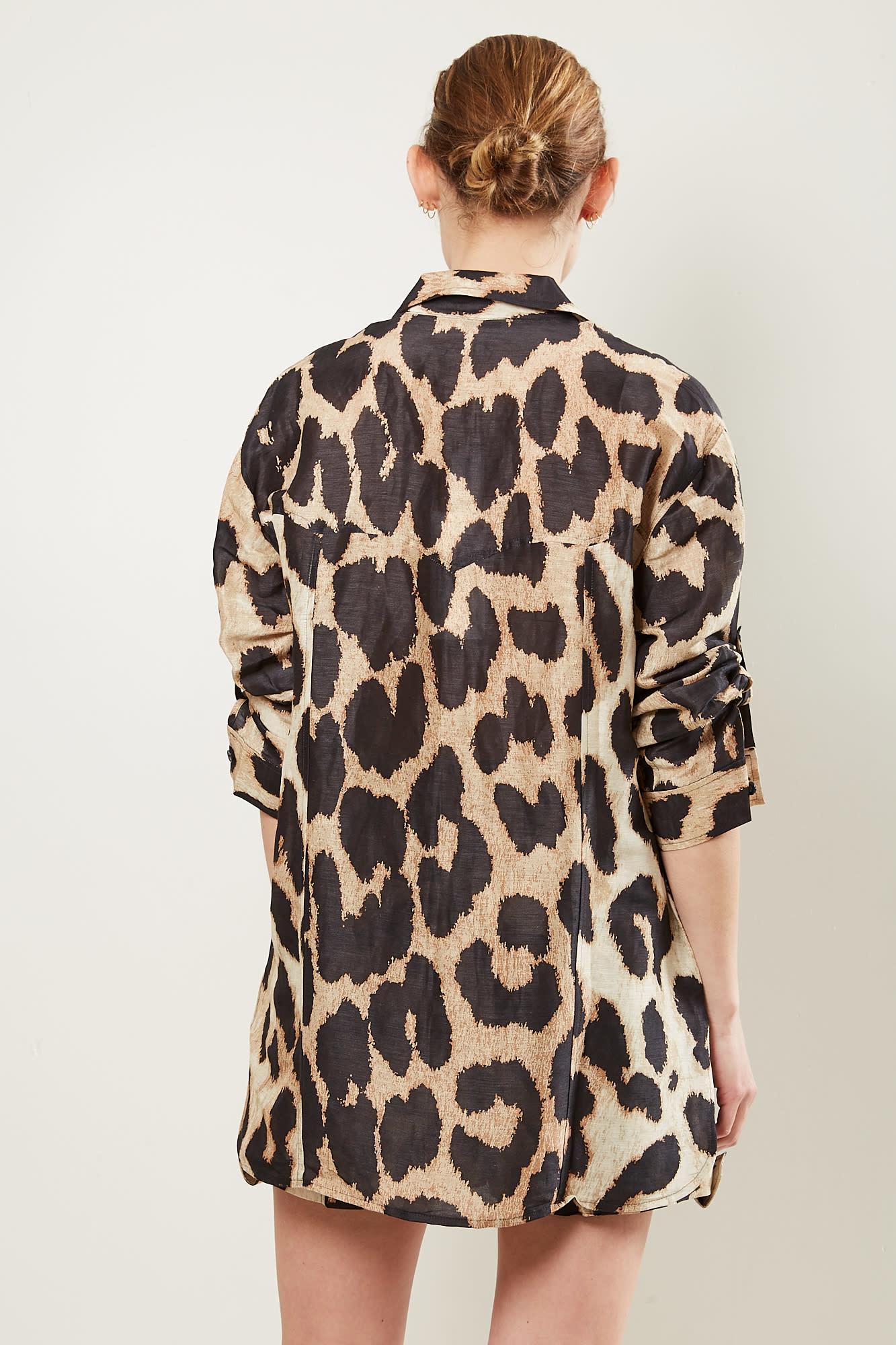 Ganni - Silk Linen shirt Maxi Leopard