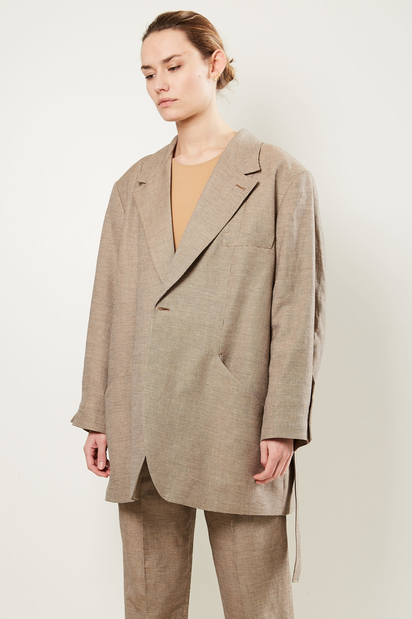 Frenken Wrap check suit blazer