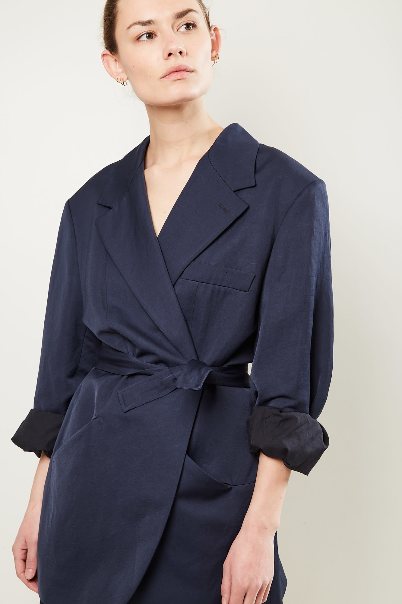 Frenken Wrap cotton linen blazer