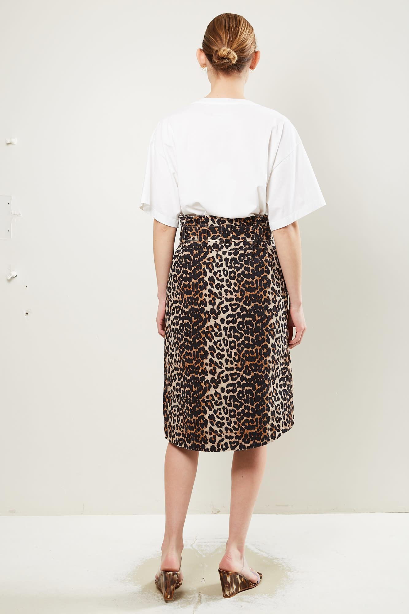 Ganni - Print denim skirt