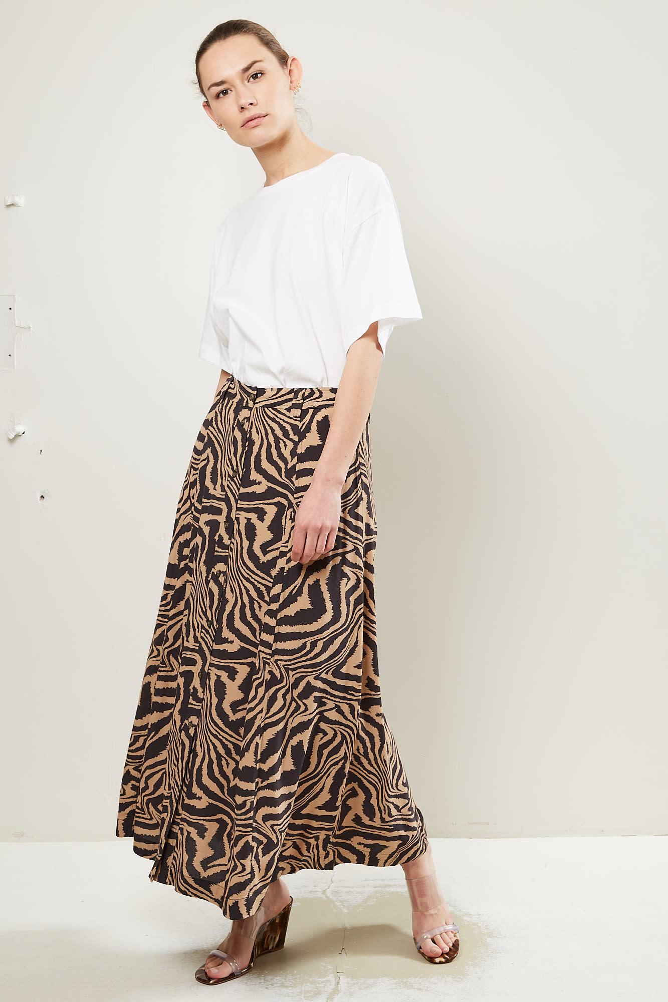 Ganni Printed Crepe skirt Tannin 185