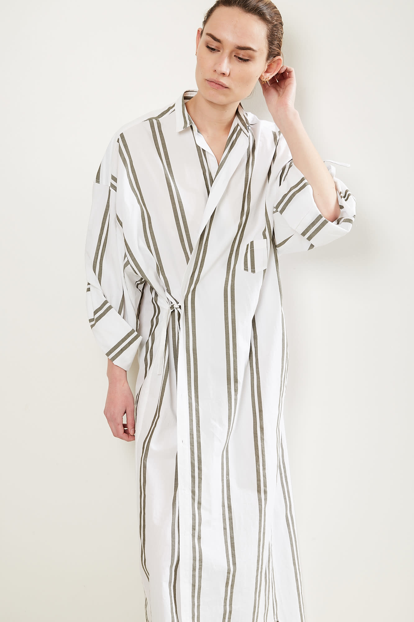 Monique van Heist No10 long stripe cotton dress