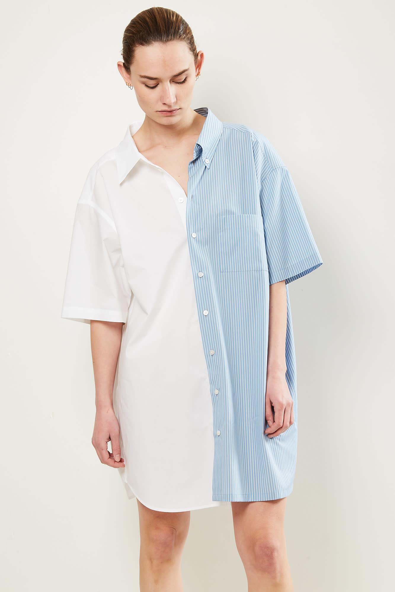 MM6 Shirt 961 white grey blue stripes