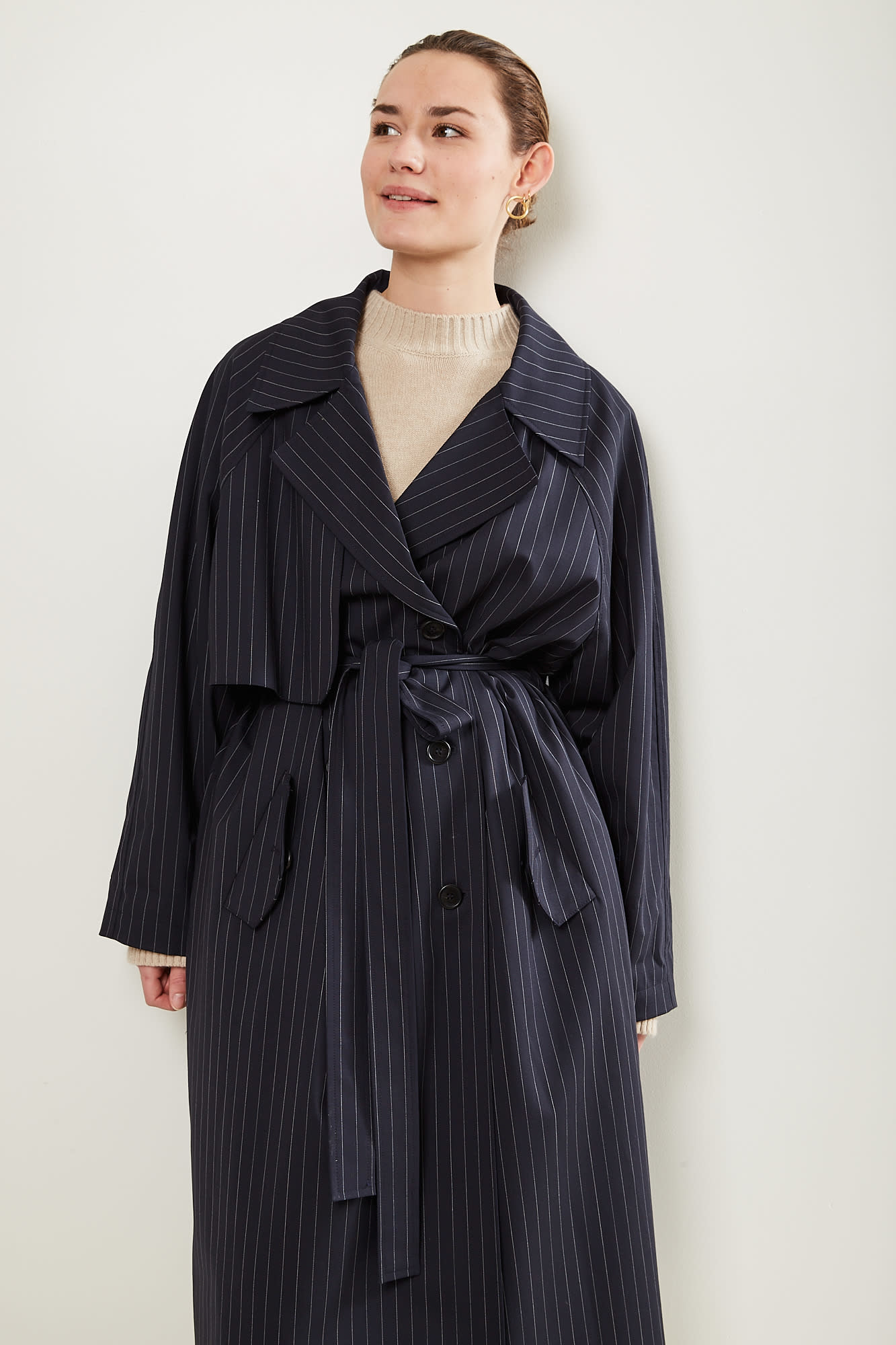 Gauge81 nairobi pinstripe trench coat
