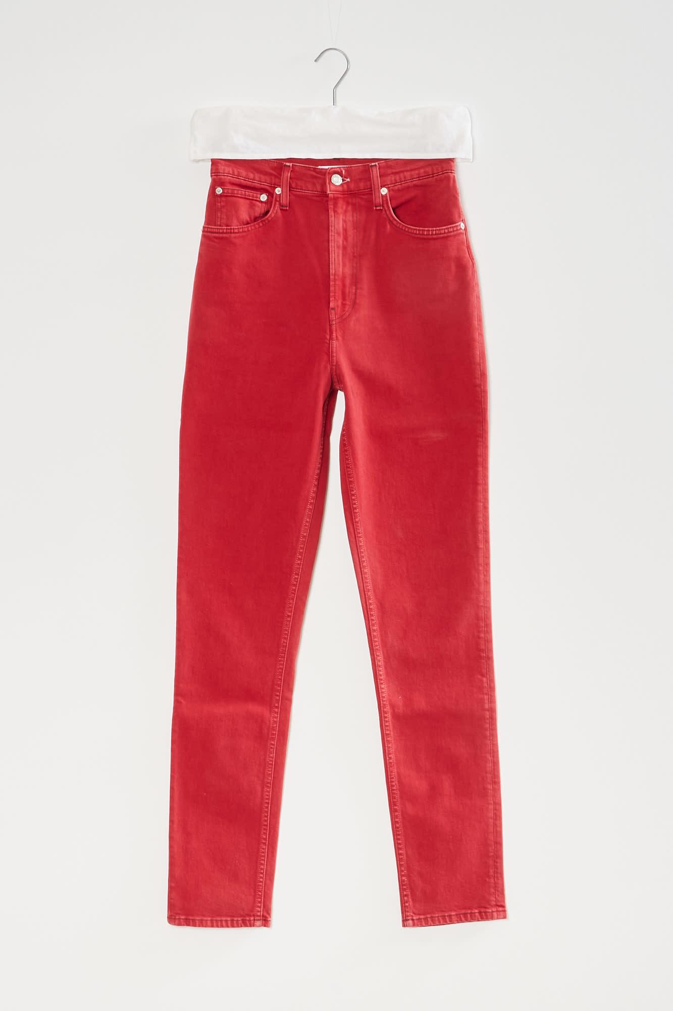 Helmut Lang femme hi spikes jeans red ymm