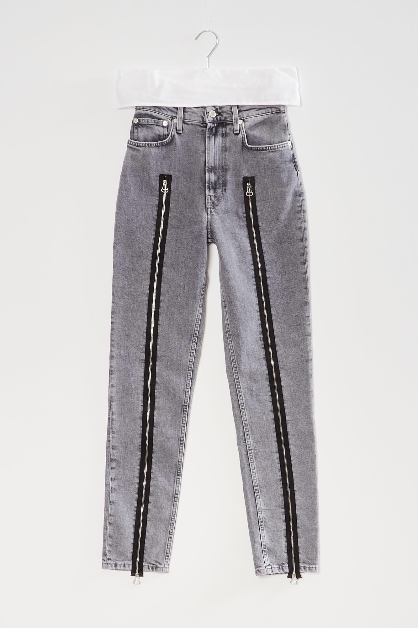 Helmut Lang - femme hi spikes jeans stone