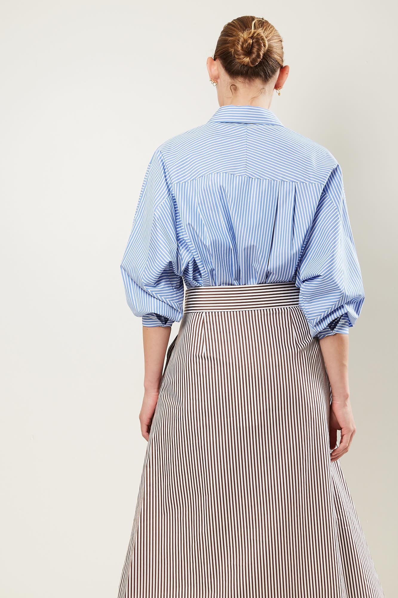 Frenken - Saddle striped poplin skirt