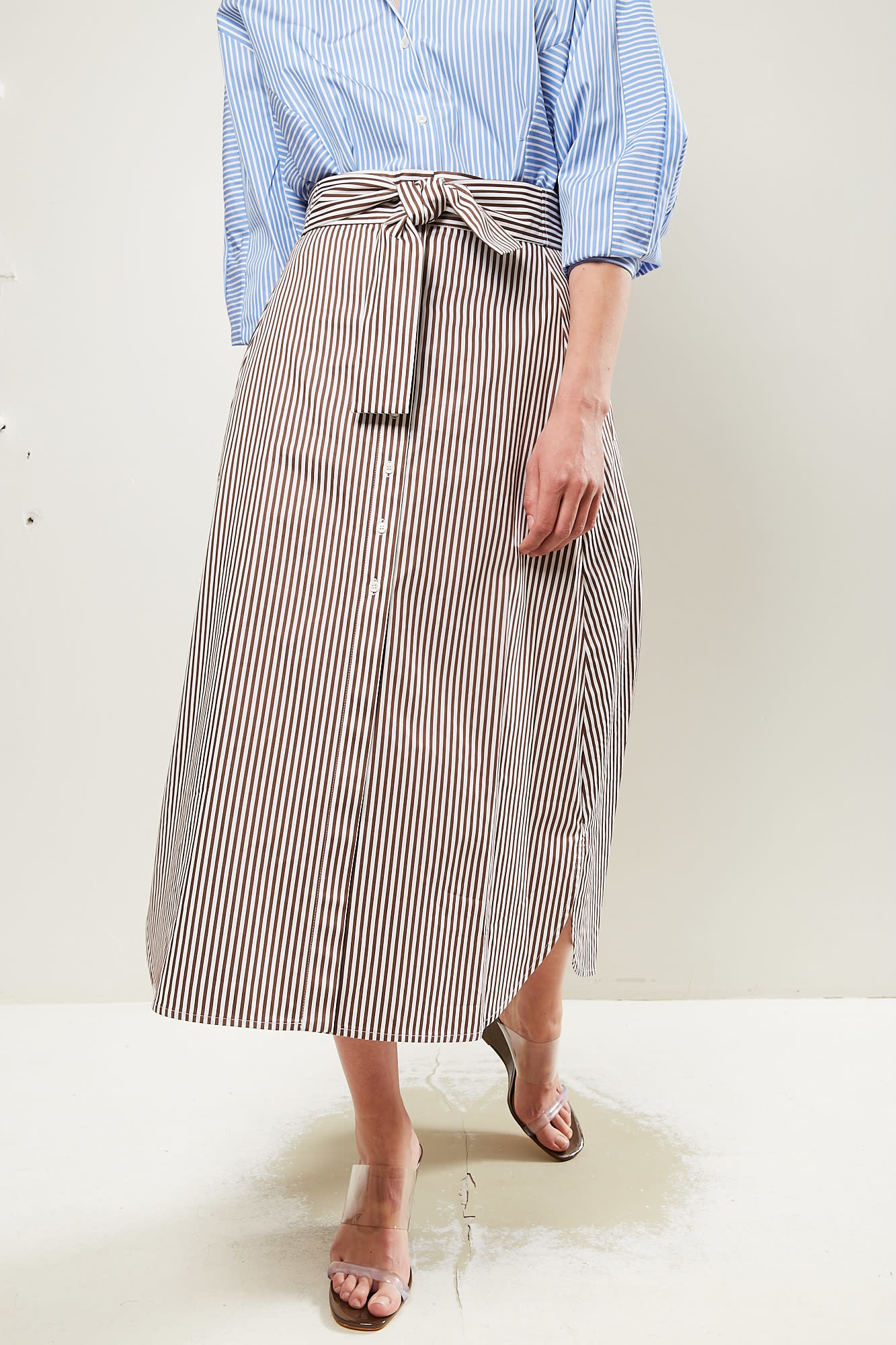 Frenken Saddle striped poplin skirt